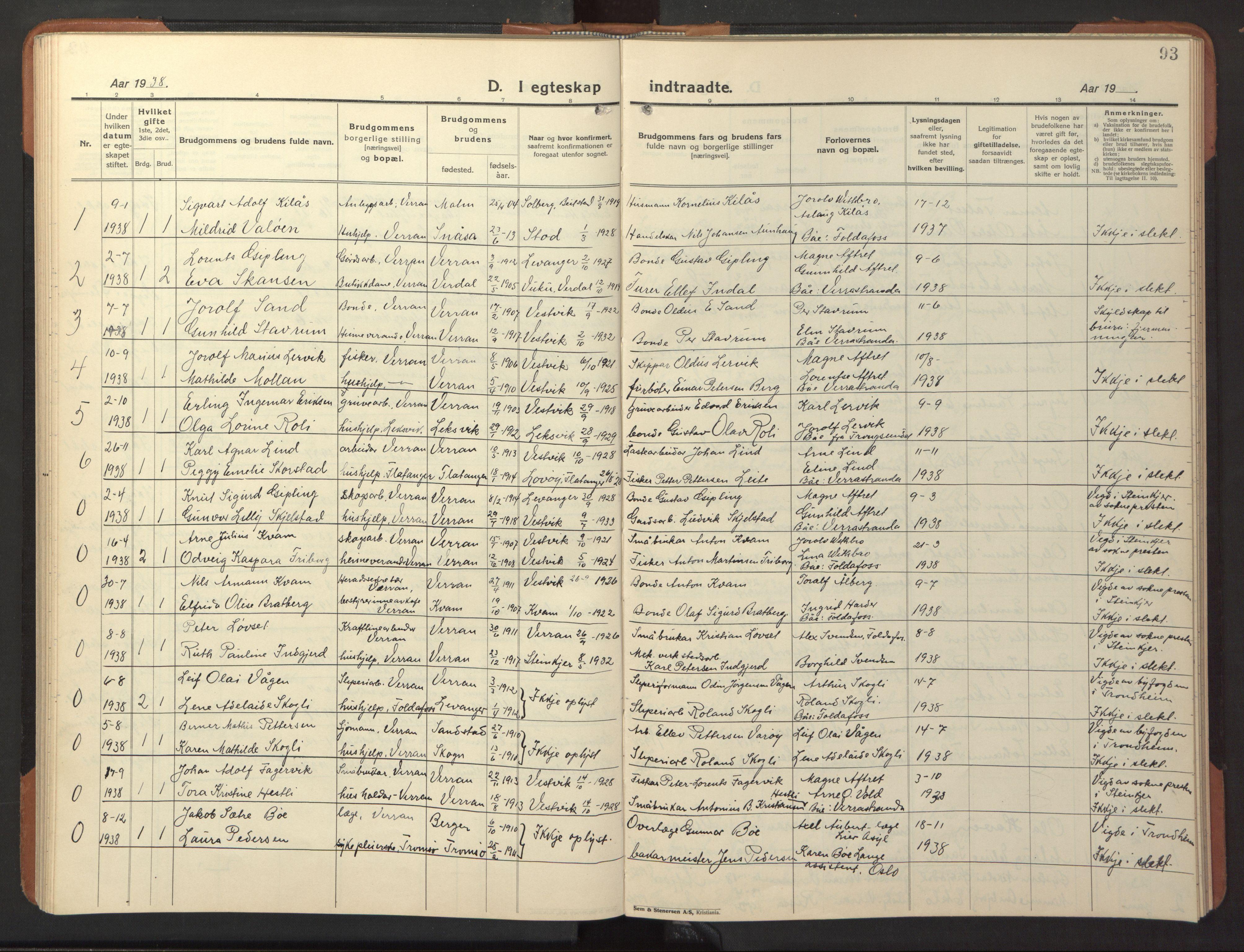 SAT, Ministerialprotokoller, klokkerbøker og fødselsregistre - Nord-Trøndelag, 744/L0425: Klokkerbok nr. 744C04, 1924-1947, s. 93