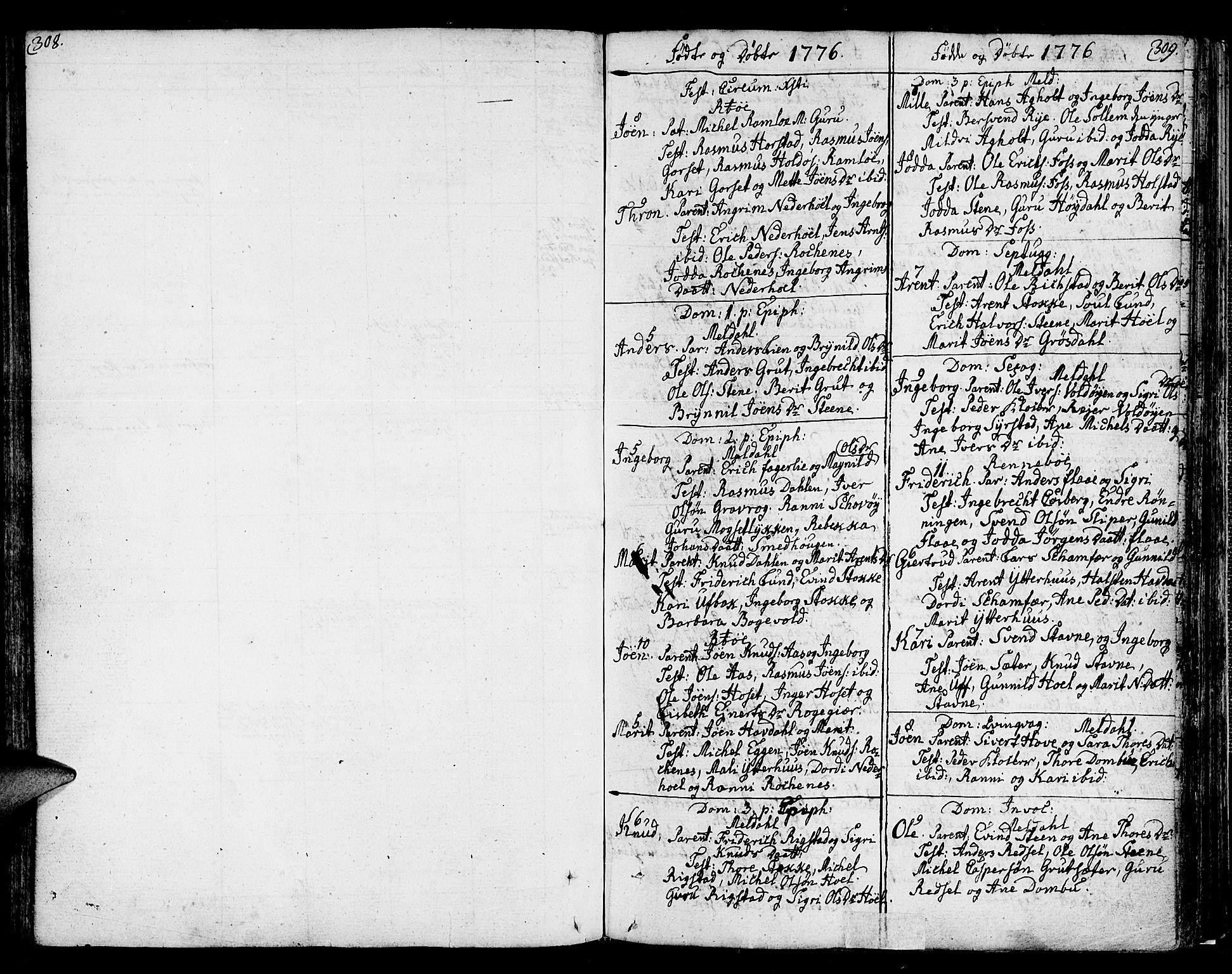 SAT, Ministerialprotokoller, klokkerbøker og fødselsregistre - Sør-Trøndelag, 672/L0852: Ministerialbok nr. 672A05, 1776-1815, s. 308-309