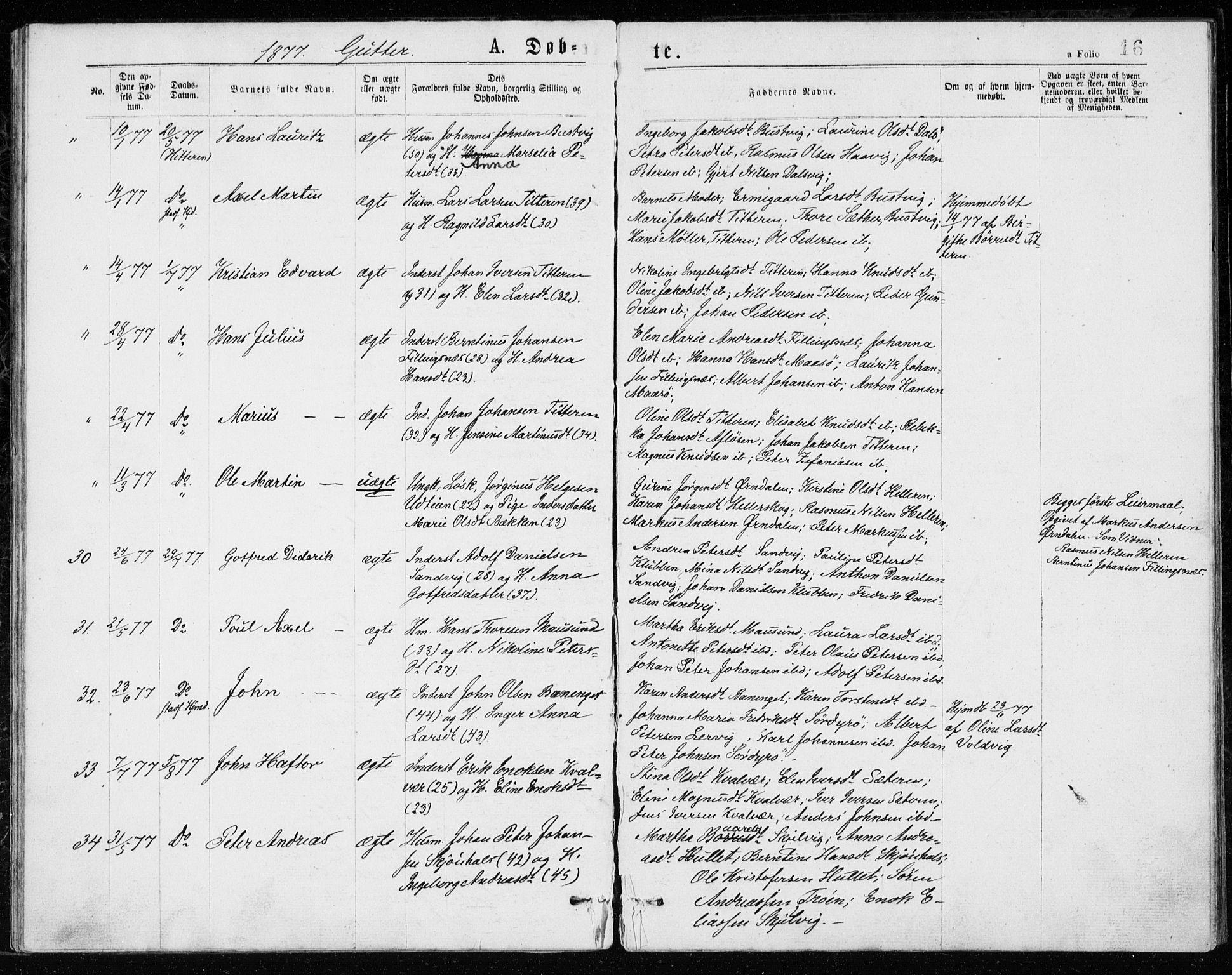 SAT, Ministerialprotokoller, klokkerbøker og fødselsregistre - Sør-Trøndelag, 640/L0577: Ministerialbok nr. 640A02, 1877-1878, s. 16
