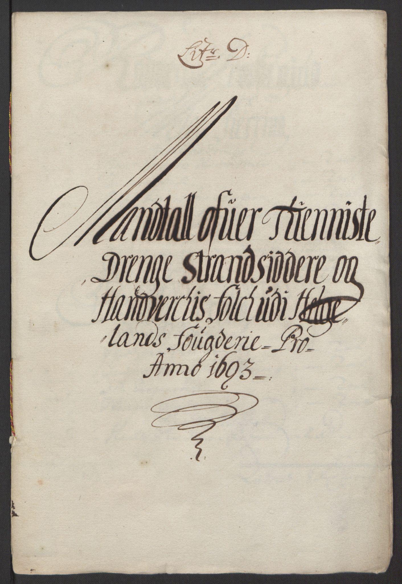 RA, Rentekammeret inntil 1814, Reviderte regnskaper, Fogderegnskap, R65/L4505: Fogderegnskap Helgeland, 1693-1696, s. 103