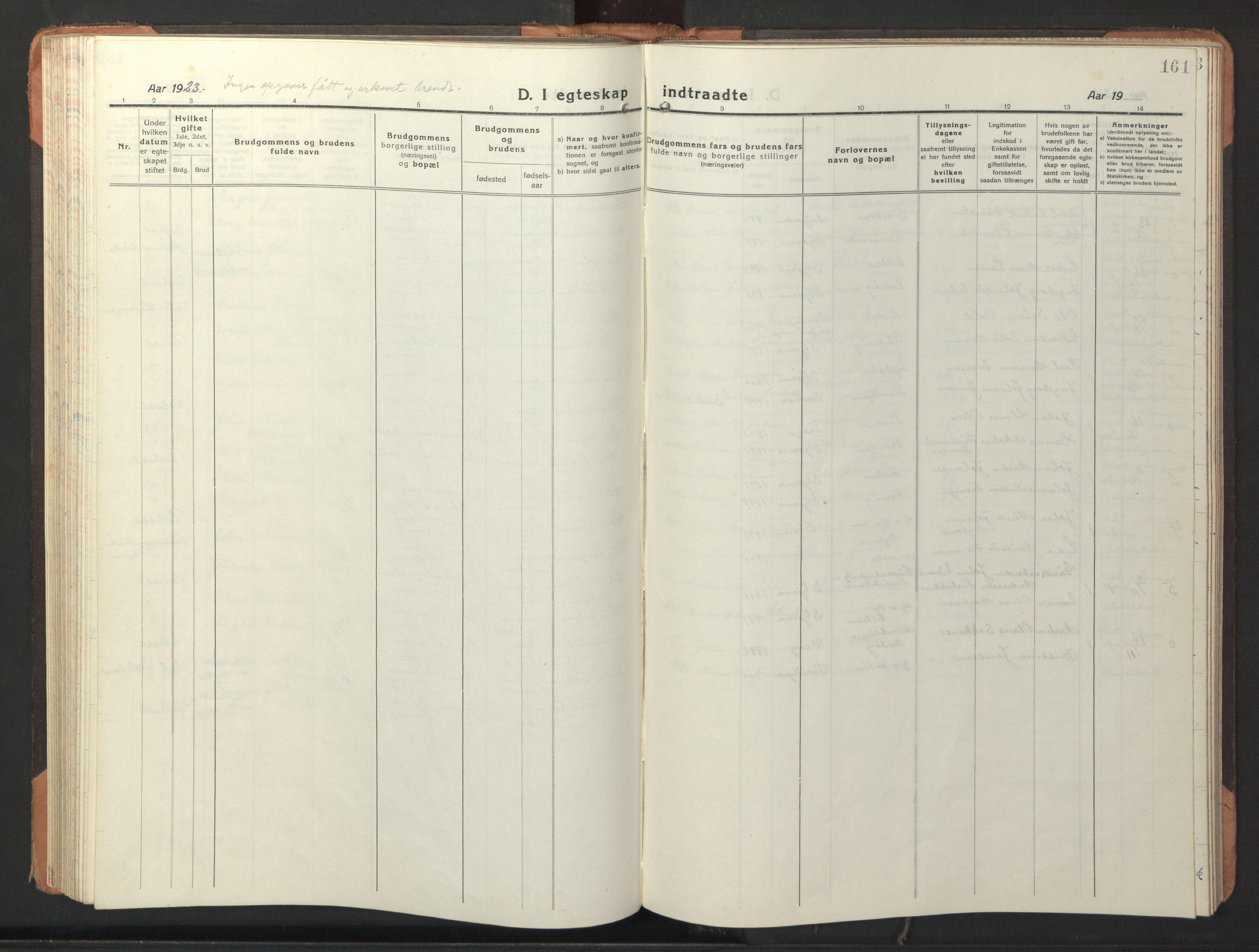 SAT, Ministerialprotokoller, klokkerbøker og fødselsregistre - Sør-Trøndelag, 653/L0658: Klokkerbok nr. 653C02, 1919-1947, s. 161
