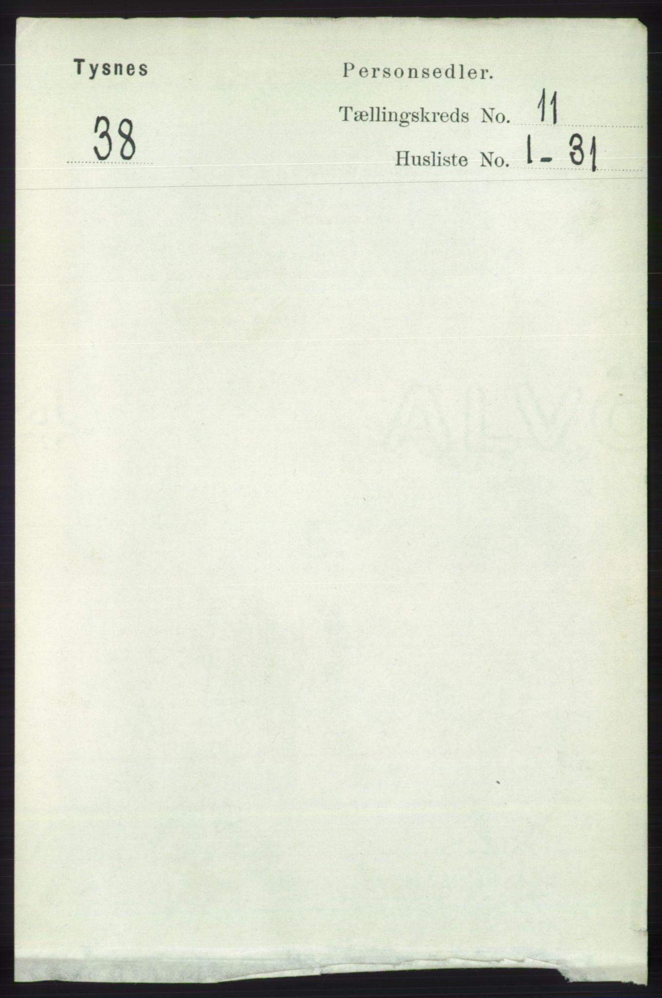 RA, Folketelling 1891 for 1223 Tysnes herred, 1891, s. 5362