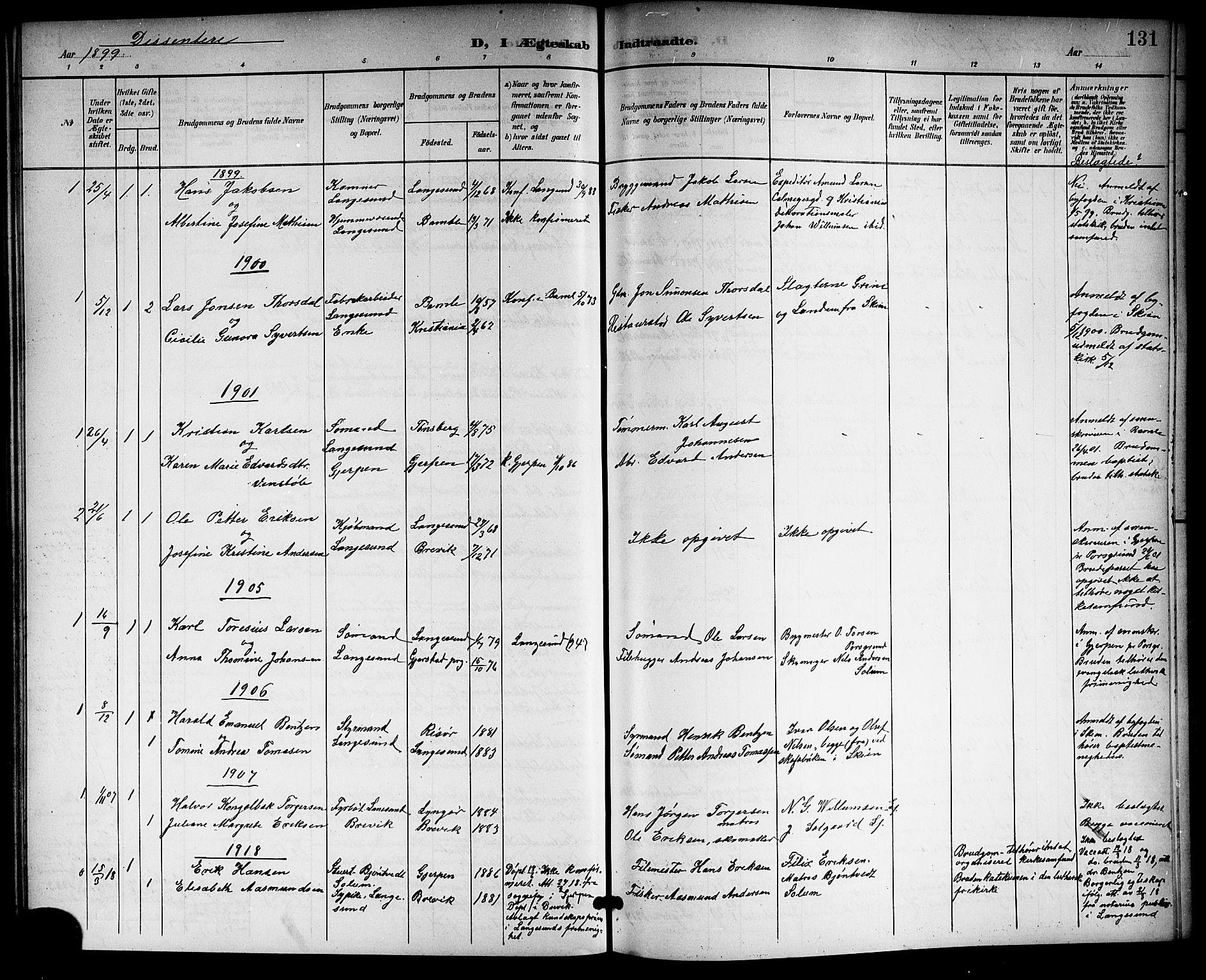 SAKO, Langesund kirkebøker, G/Ga/L0006: Klokkerbok nr. 6, 1899-1918, s. 131