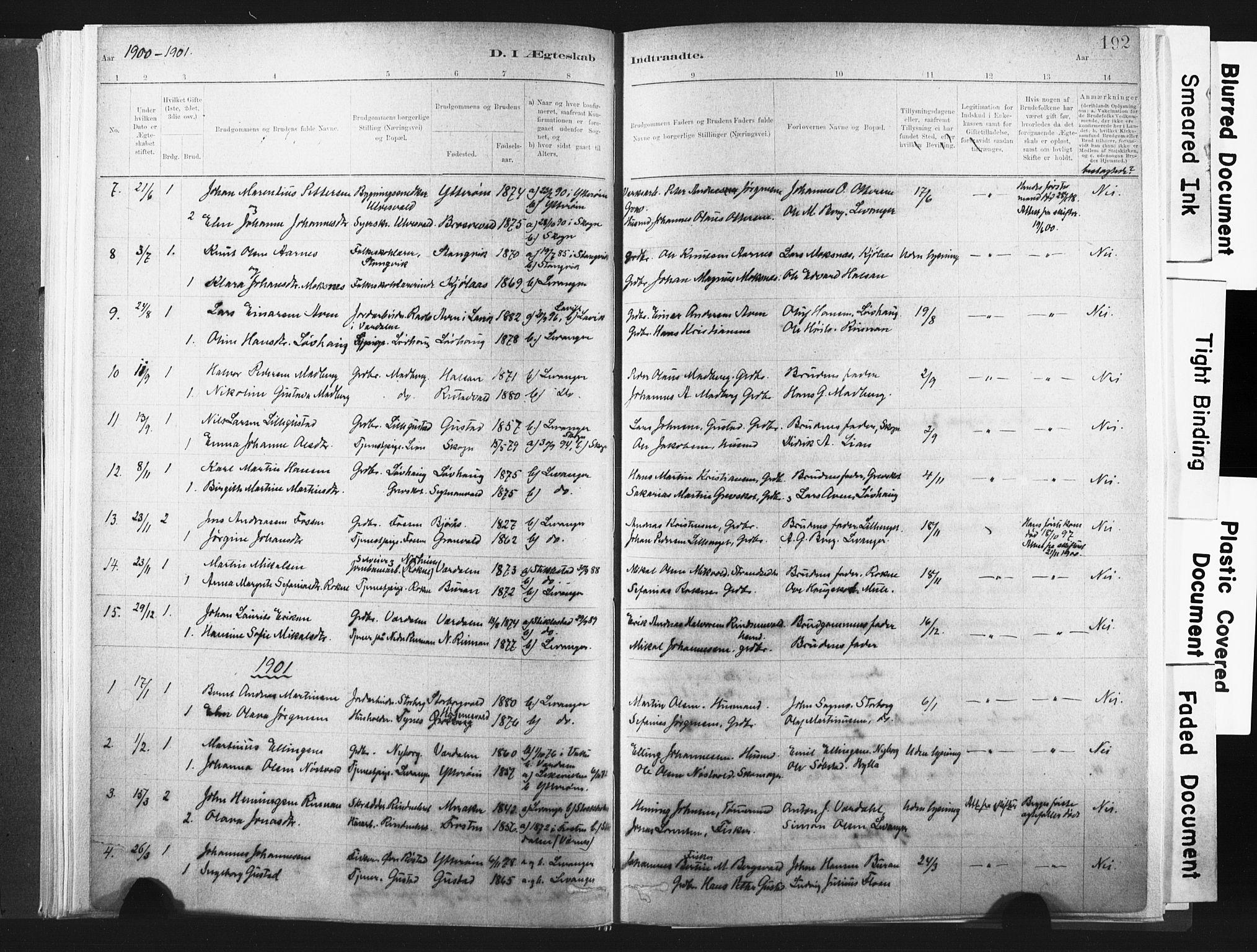 SAT, Ministerialprotokoller, klokkerbøker og fødselsregistre - Nord-Trøndelag, 721/L0207: Ministerialbok nr. 721A02, 1880-1911, s. 192