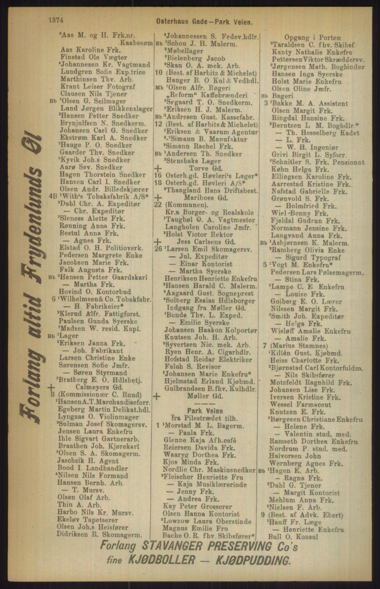 RA, Kristiania adressebok (publikasjon)*, 1911, s. 1374