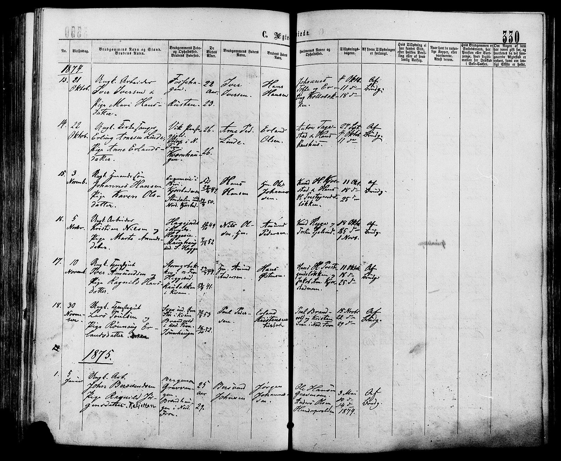SAH, Sør-Fron prestekontor, H/Ha/Haa/L0002: Ministerialbok nr. 2, 1864-1880, s. 330
