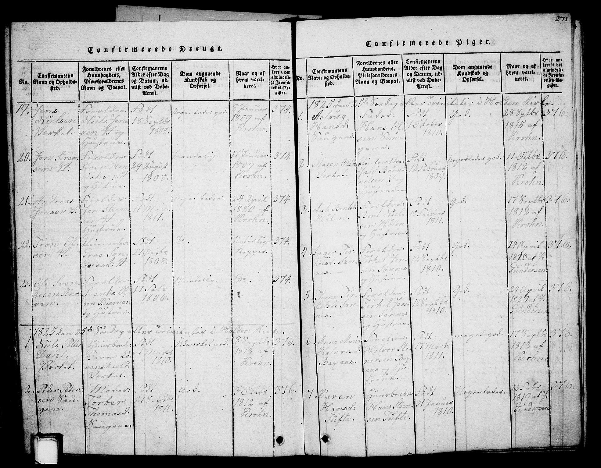 SAKO, Holla kirkebøker, G/Ga/L0001: Klokkerbok nr. I 1, 1814-1830, s. 271