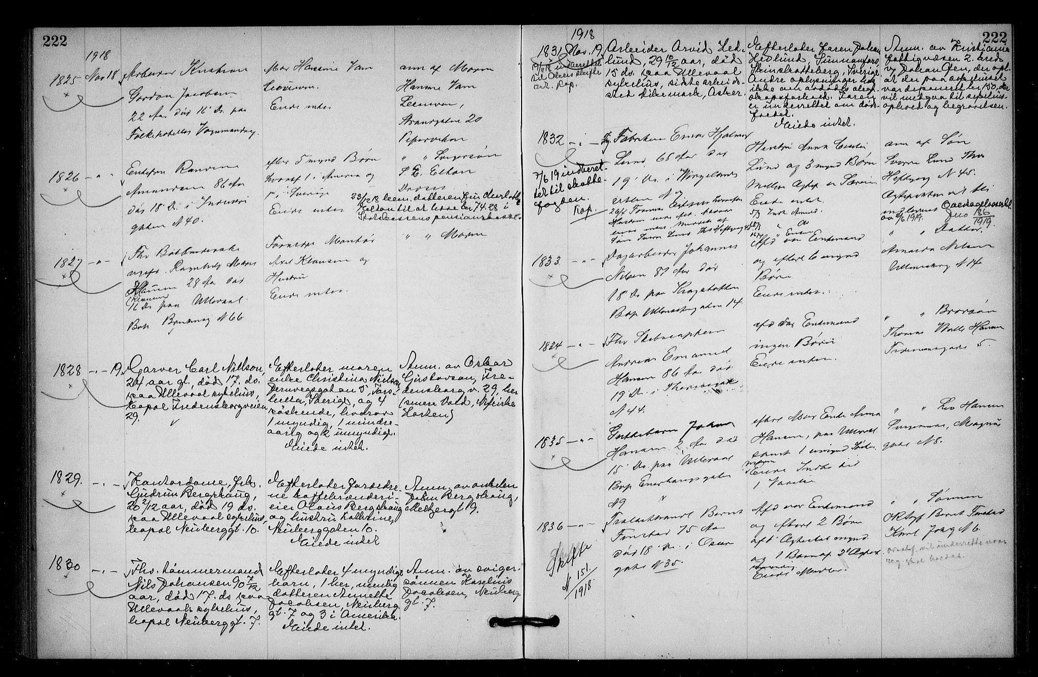 SAO, Oslo skifterett, G/Ga/Gac/L0009: Dødsfallsprotokoll, 1917-1919, s. 222