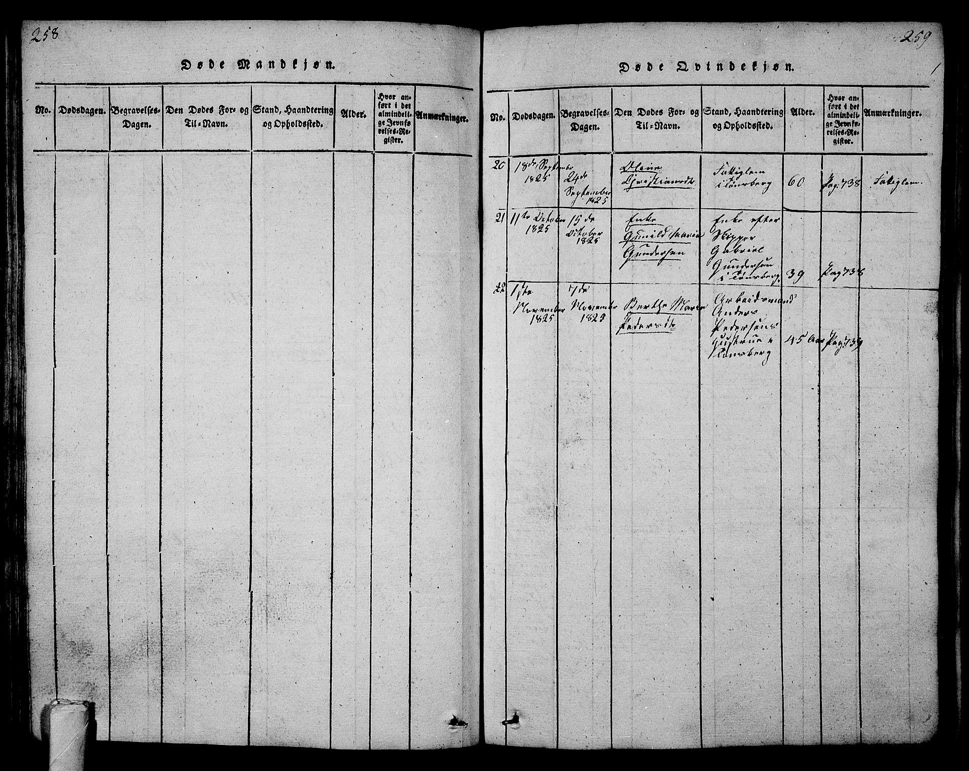 SAKO, Tønsberg kirkebøker, G/Ga/L0001: Klokkerbok nr. 1, 1813-1826, s. 258-259