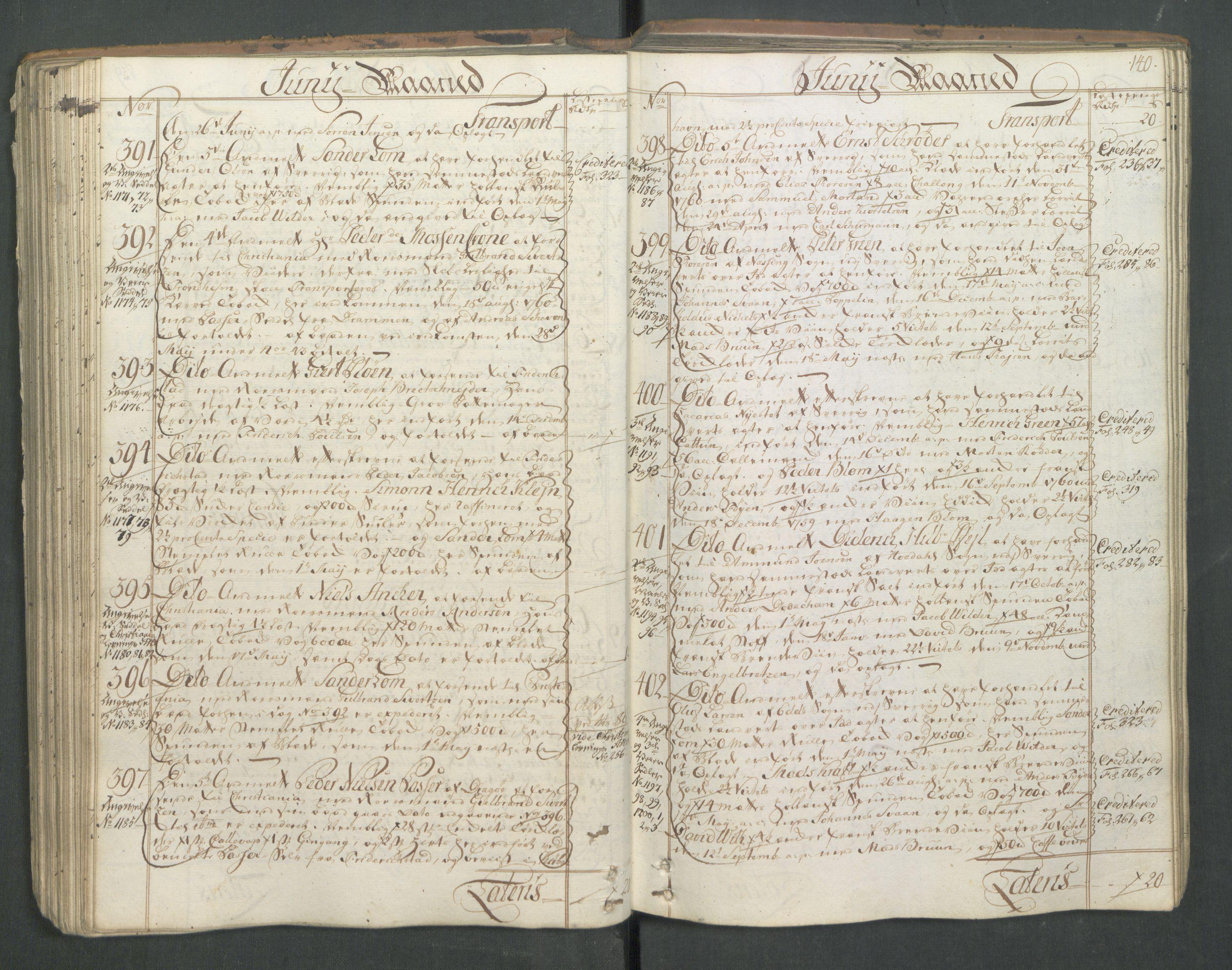 RA, Generaltollkammeret, tollregnskaper, R01/L0046: Tollregnskaper Fredrikshald, 1762, s. 139b-140a