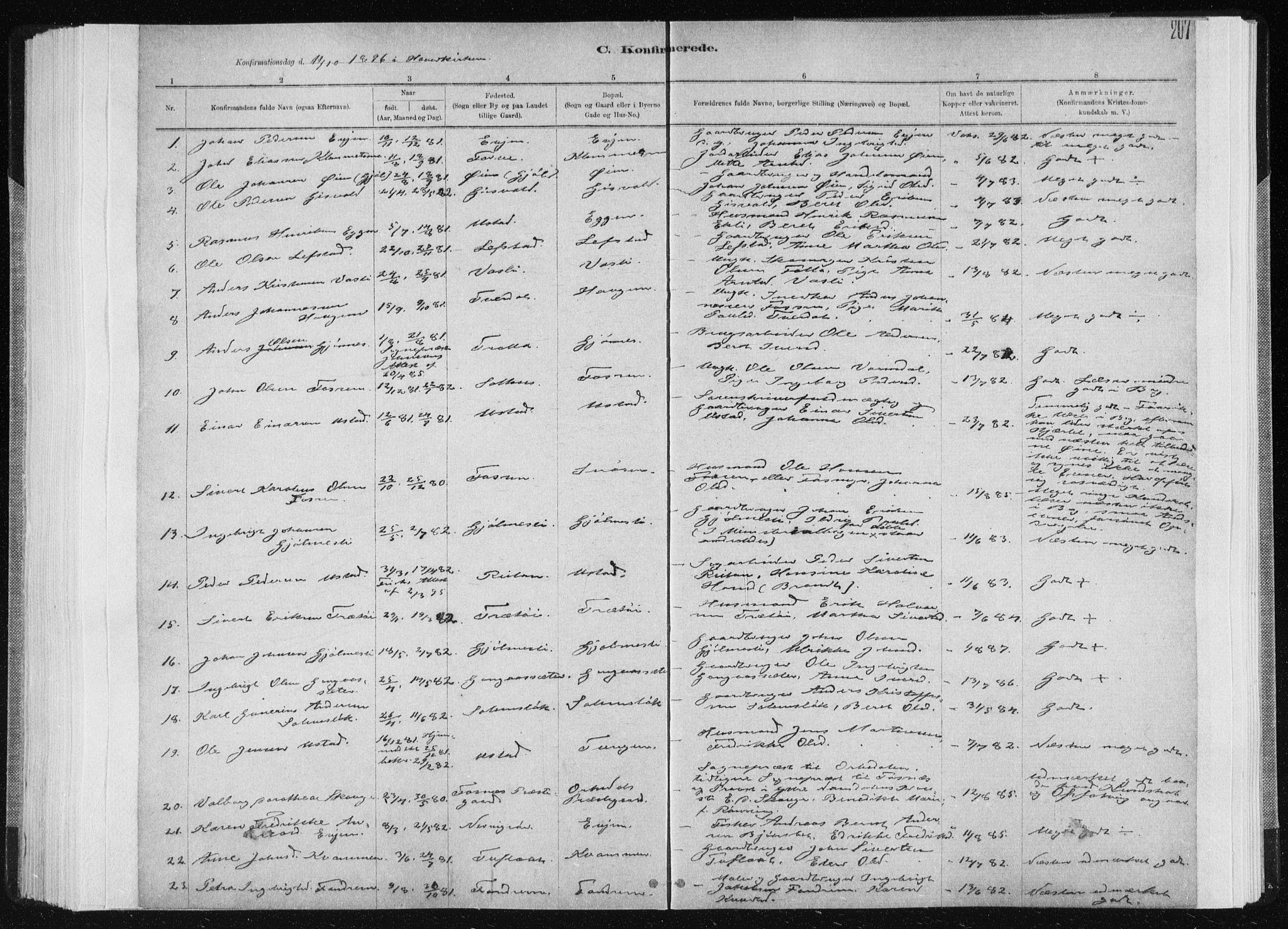 SAT, Ministerialprotokoller, klokkerbøker og fødselsregistre - Sør-Trøndelag, 668/L0818: Klokkerbok nr. 668C07, 1885-1898, s. 207