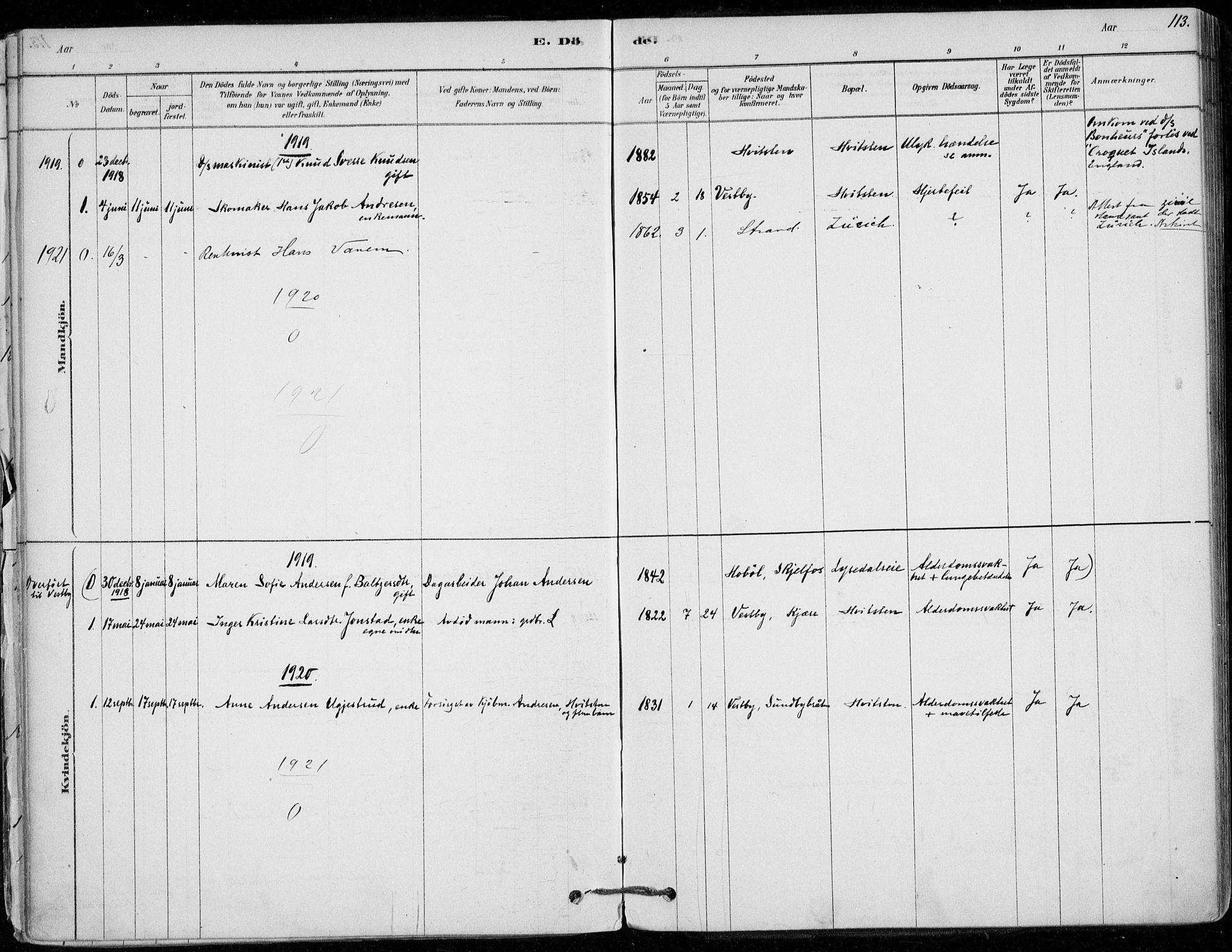 SAO, Vestby prestekontor Kirkebøker, F/Fd/L0001: Ministerialbok nr. IV 1, 1878-1945, s. 113