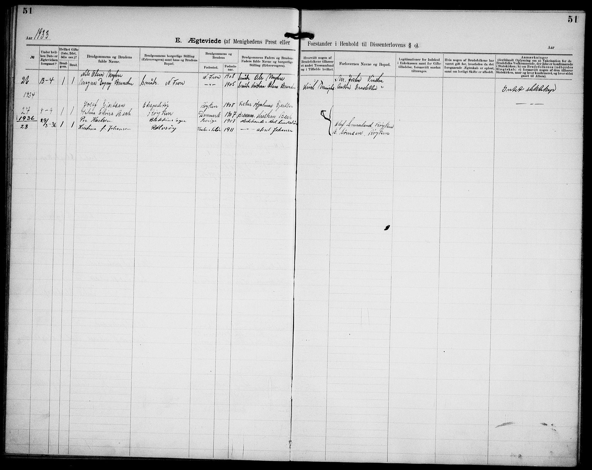 SAO, Kristi menighet Oslo , A/L0001: Dissenterprotokoll nr. 1, 1903-1938, s. 51