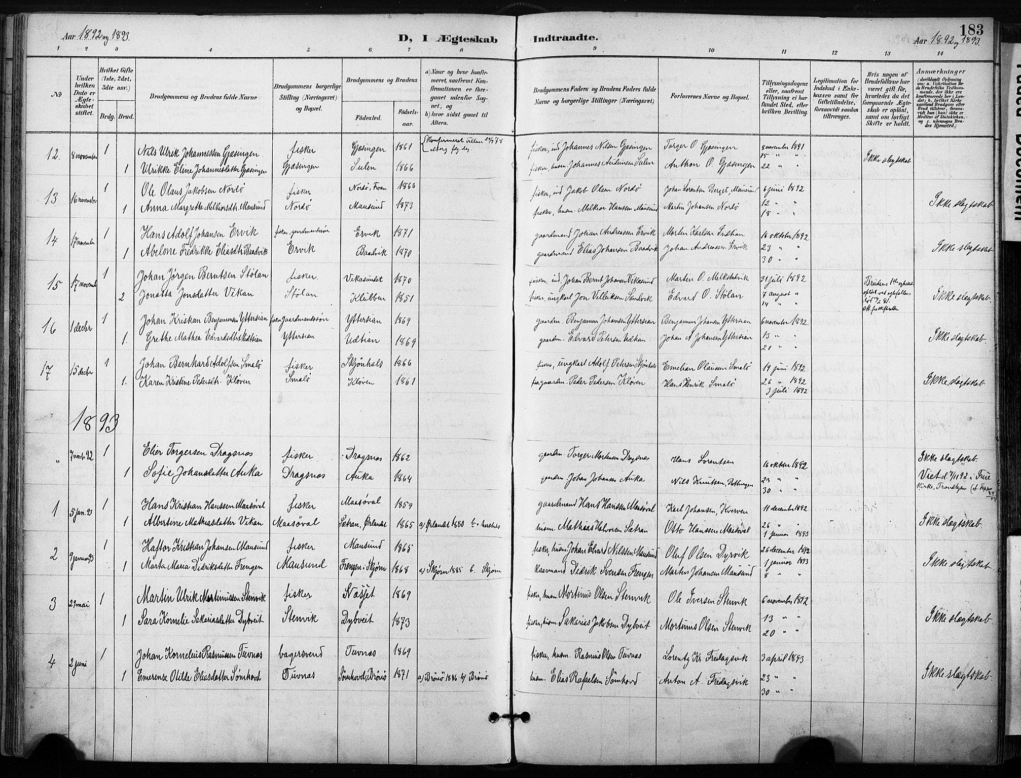SAT, Ministerialprotokoller, klokkerbøker og fødselsregistre - Sør-Trøndelag, 640/L0579: Ministerialbok nr. 640A04, 1889-1902, s. 183