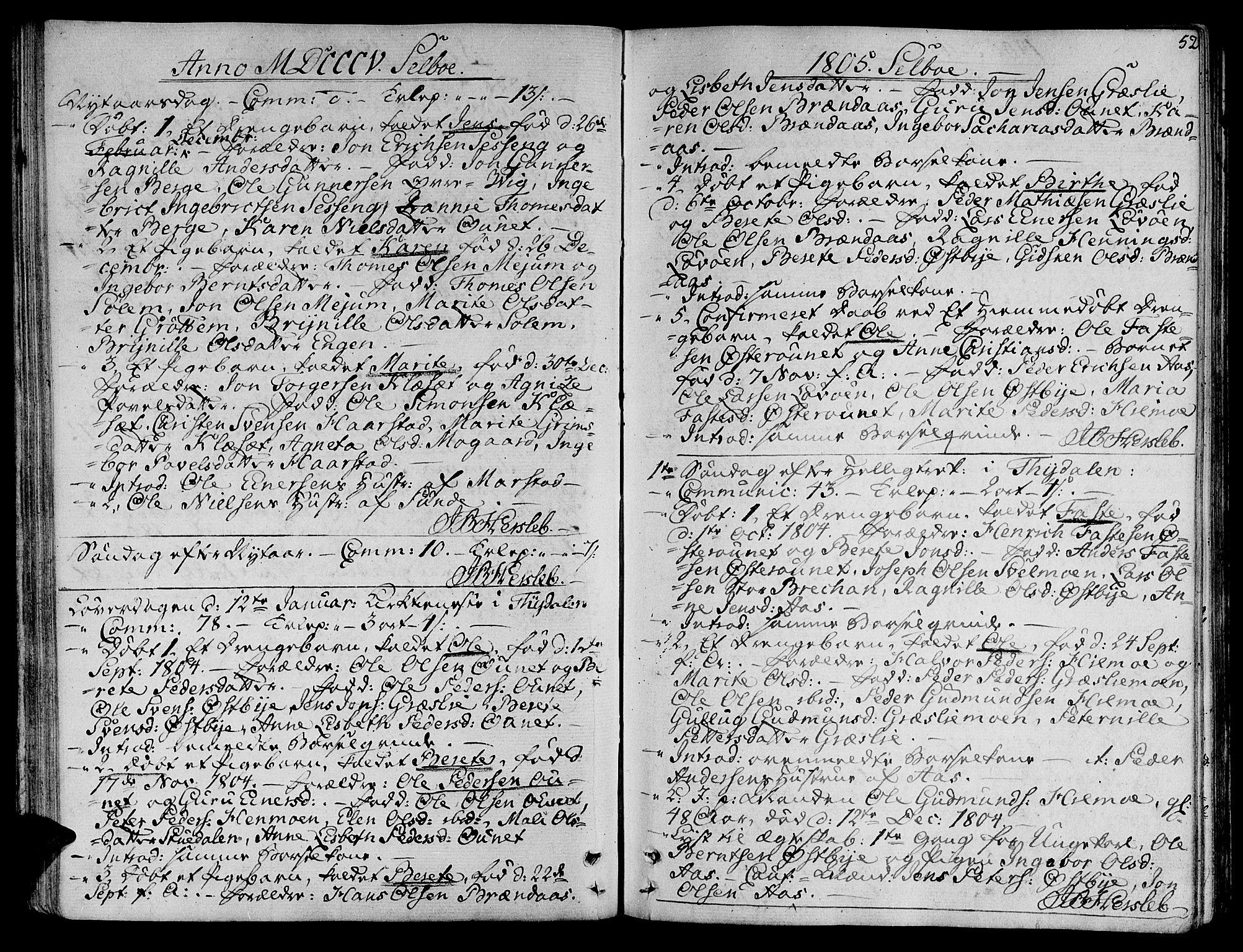 SAT, Ministerialprotokoller, klokkerbøker og fødselsregistre - Sør-Trøndelag, 695/L1140: Ministerialbok nr. 695A03, 1801-1815, s. 52