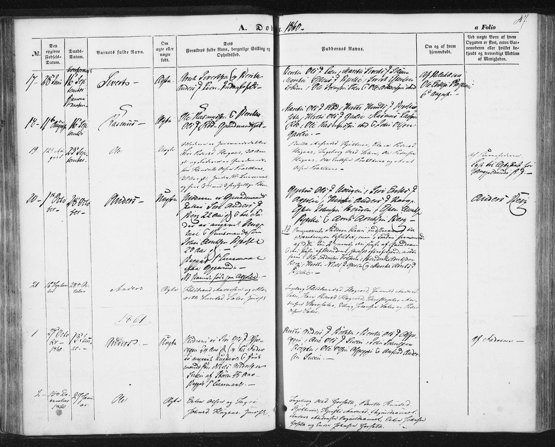 SAT, Ministerialprotokoller, klokkerbøker og fødselsregistre - Sør-Trøndelag, 689/L1038: Ministerialbok nr. 689A03, 1848-1872, s. 47