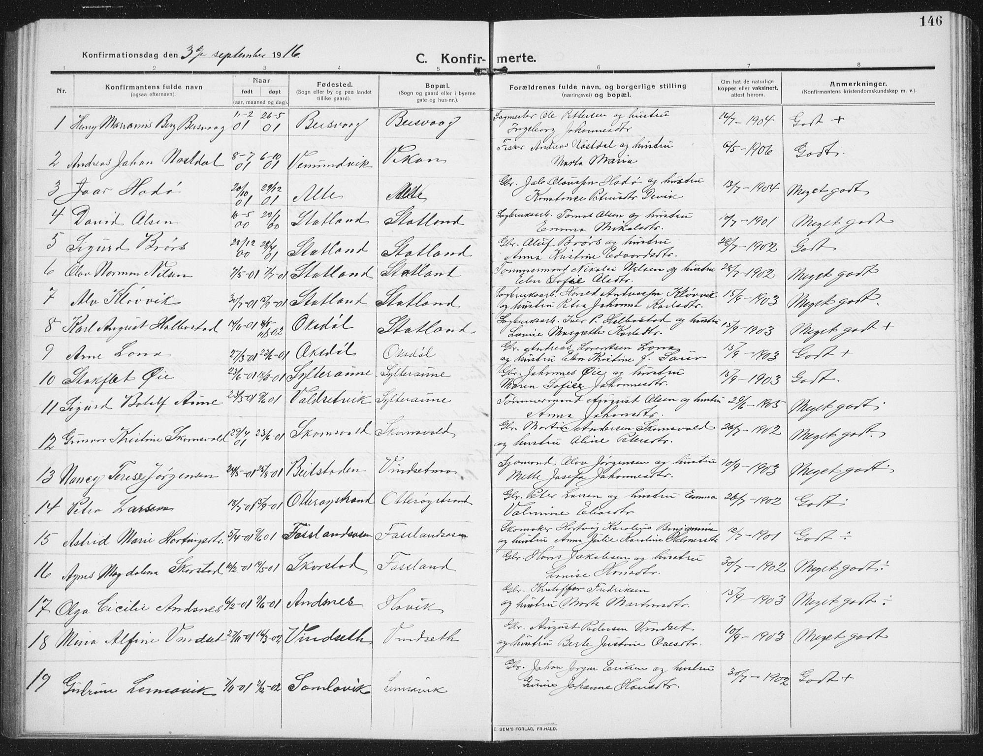 SAT, Ministerialprotokoller, klokkerbøker og fødselsregistre - Nord-Trøndelag, 774/L0630: Klokkerbok nr. 774C01, 1910-1934, s. 146