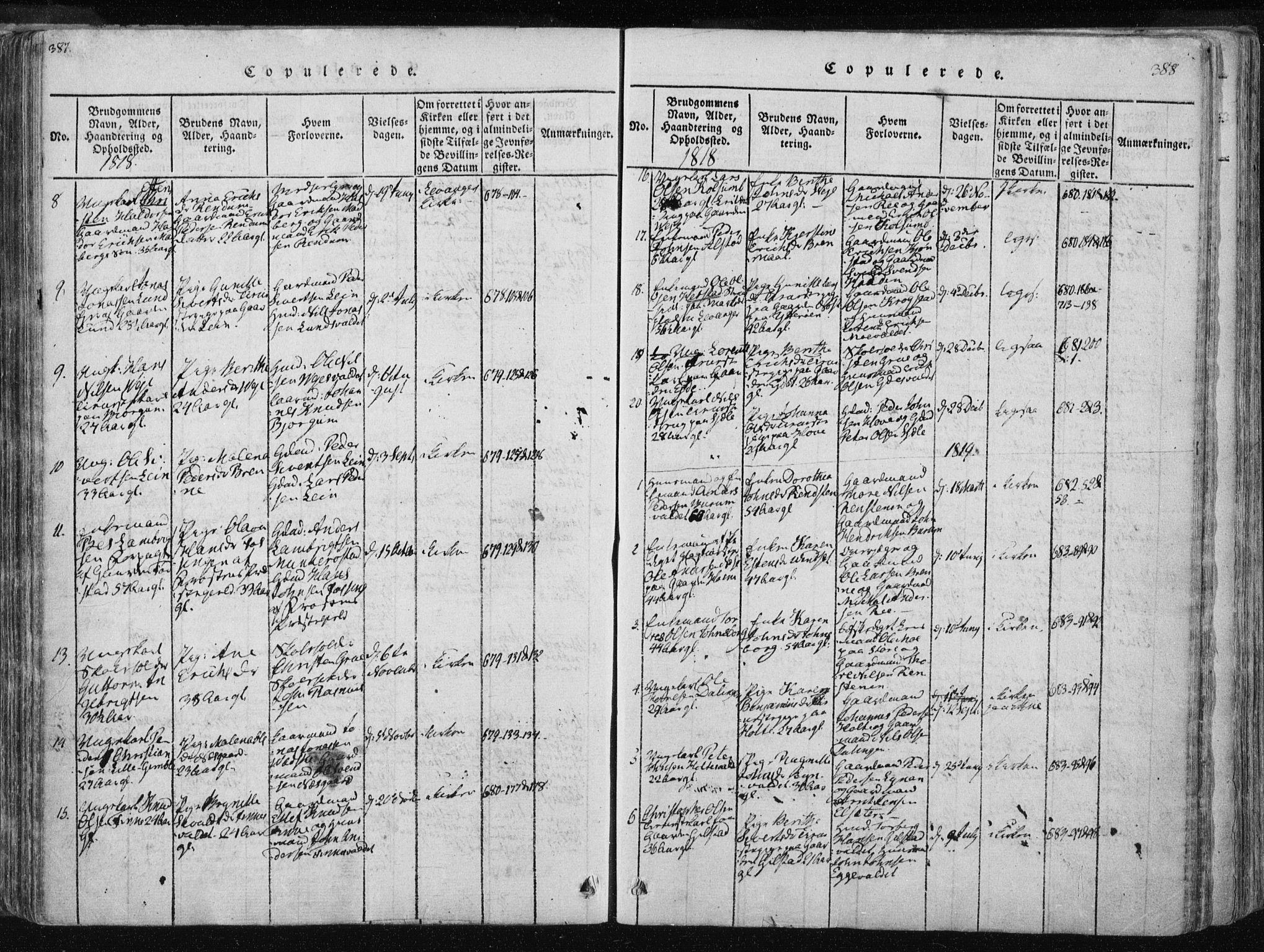 SAT, Ministerialprotokoller, klokkerbøker og fødselsregistre - Nord-Trøndelag, 717/L0148: Ministerialbok nr. 717A04 /1, 1816-1825, s. 387-388