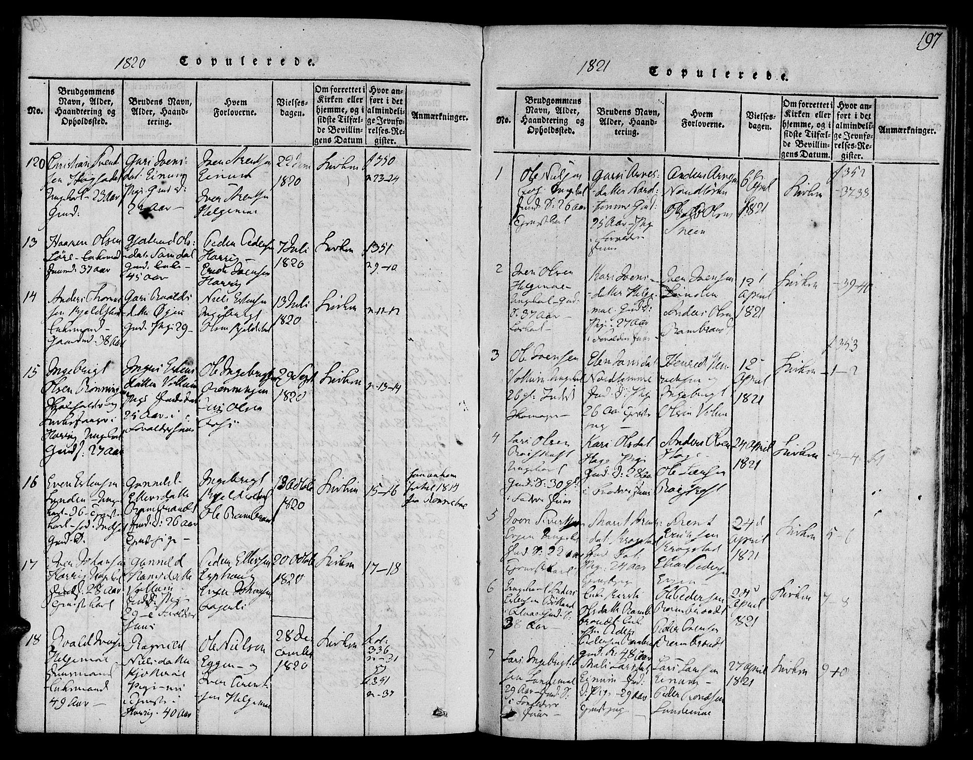 SAT, Ministerialprotokoller, klokkerbøker og fødselsregistre - Sør-Trøndelag, 692/L1102: Ministerialbok nr. 692A02, 1816-1842, s. 197