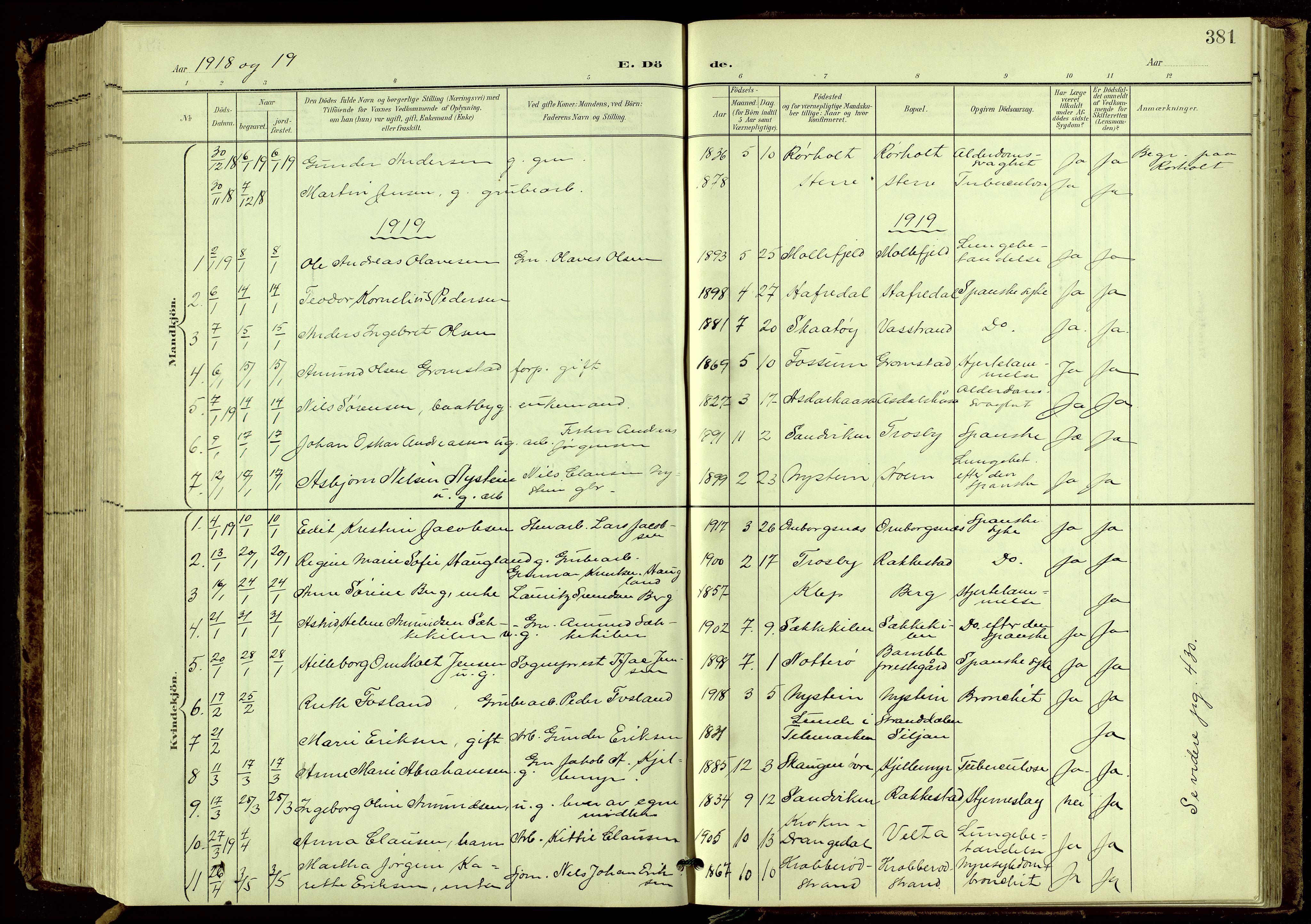 SAKO, Bamble kirkebøker, G/Ga/L0010: Klokkerbok nr. I 10, 1901-1919, s. 381