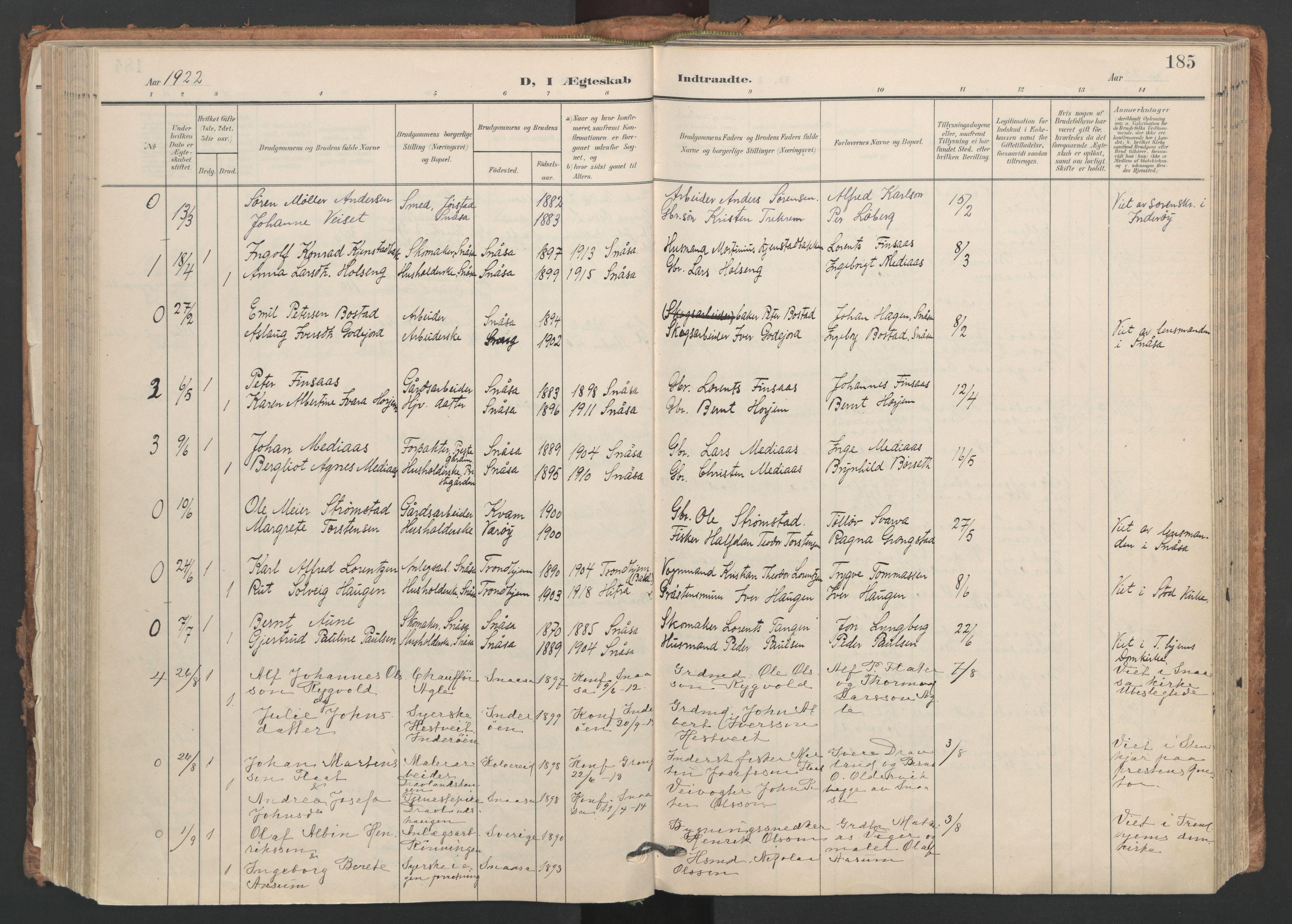 SAT, Ministerialprotokoller, klokkerbøker og fødselsregistre - Nord-Trøndelag, 749/L0477: Ministerialbok nr. 749A11, 1902-1927, s. 185