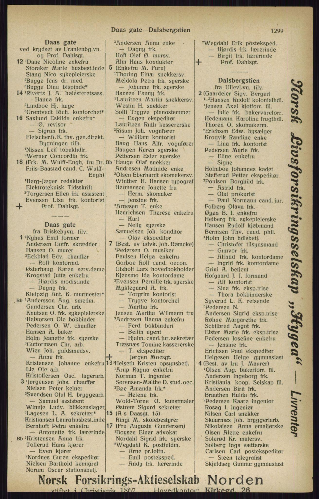 RA, Kristiania adressebok (publikasjon)*, 1916, s. 1299