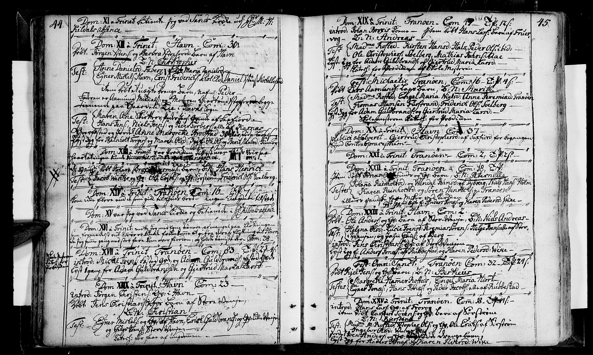SATØ, Tranøy sokneprestkontor, I/Ia/Iaa/L0001kirke: Ministerialbok nr. 1, 1757-1773, s. 44-45