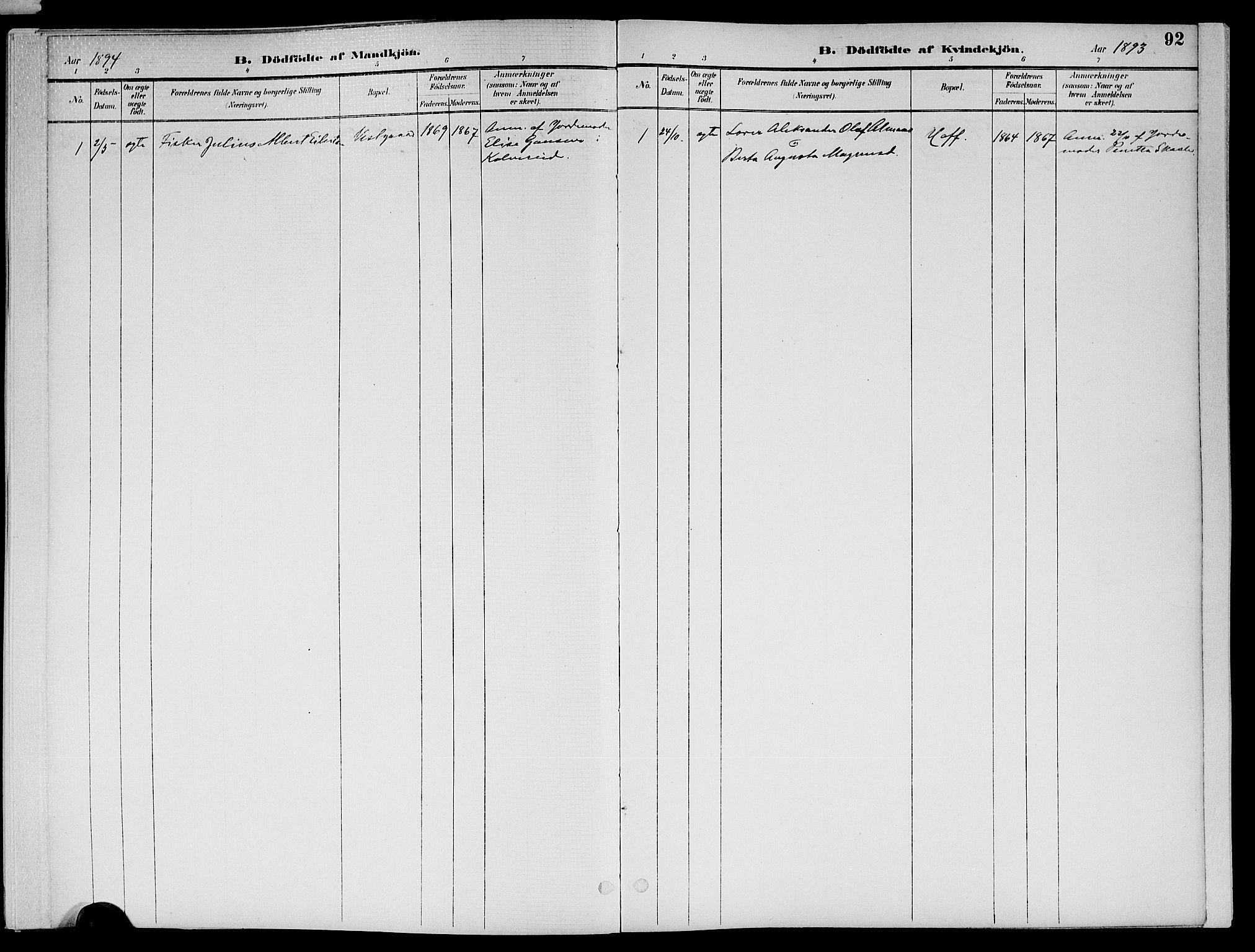 SAT, Ministerialprotokoller, klokkerbøker og fødselsregistre - Nord-Trøndelag, 773/L0617: Ministerialbok nr. 773A08, 1887-1910, s. 92