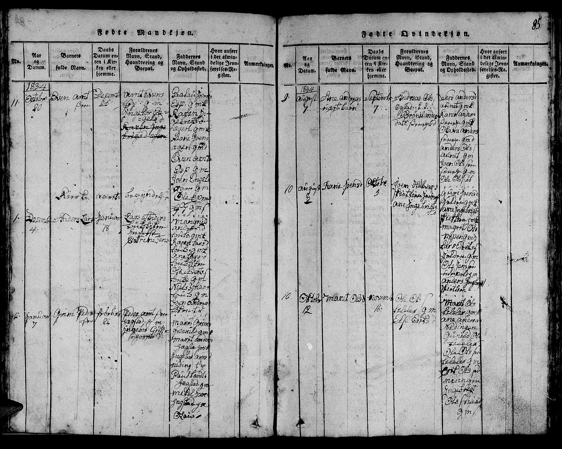 SAT, Ministerialprotokoller, klokkerbøker og fødselsregistre - Sør-Trøndelag, 613/L0393: Klokkerbok nr. 613C01, 1816-1886, s. 85