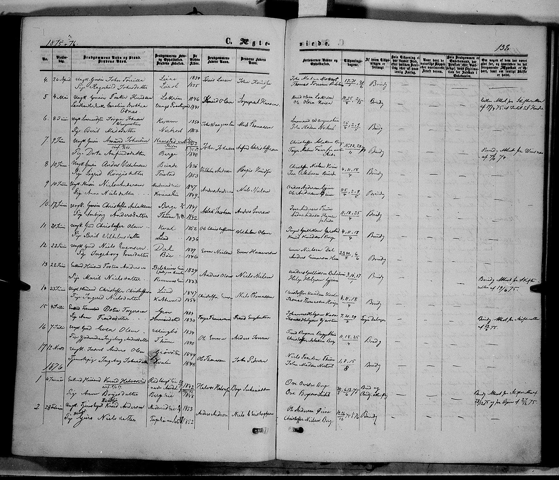 SAH, Vang prestekontor, Valdres, Ministerialbok nr. 7, 1865-1881, s. 138
