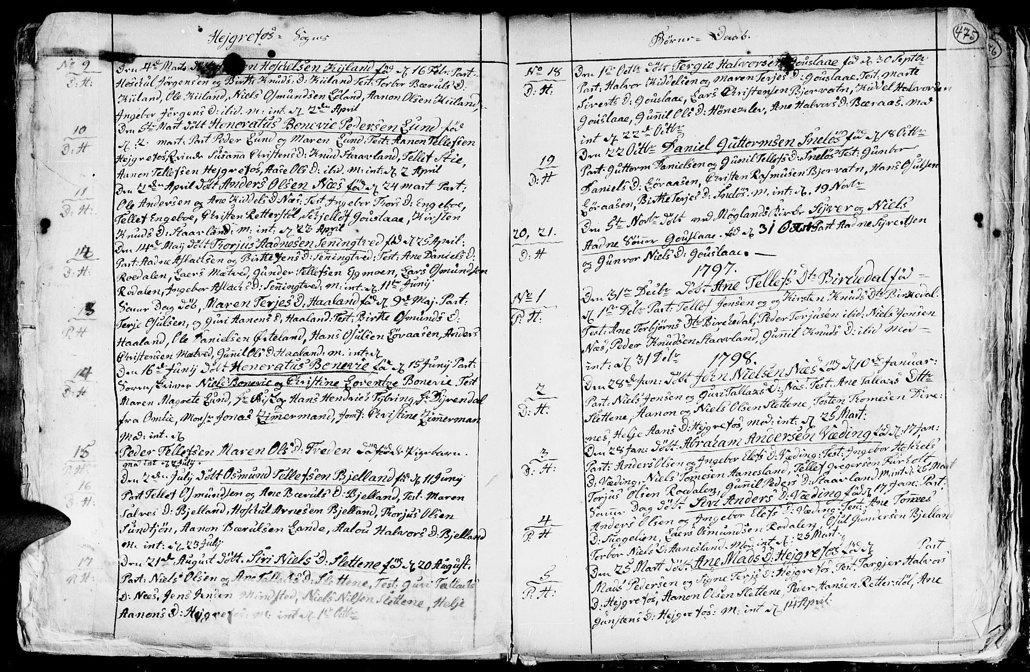 SAK, Hommedal sokneprestkontor, F/Fa/Fab/L0002: Ministerialbok nr. A 2 /3, 1740-1821, s. 475