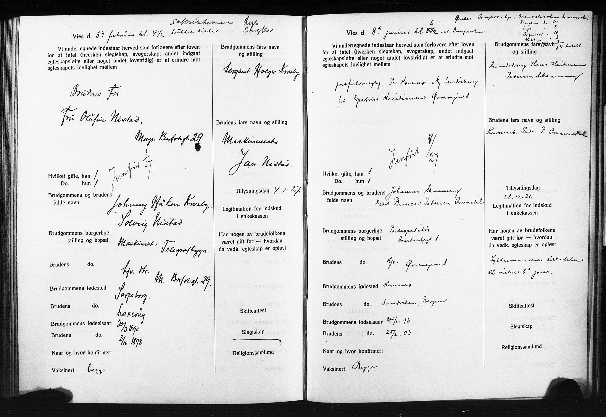 SAB, Domkirken Sokneprestembete, Forlovererklæringer nr. II.5.14, 1922-1927, s. 341