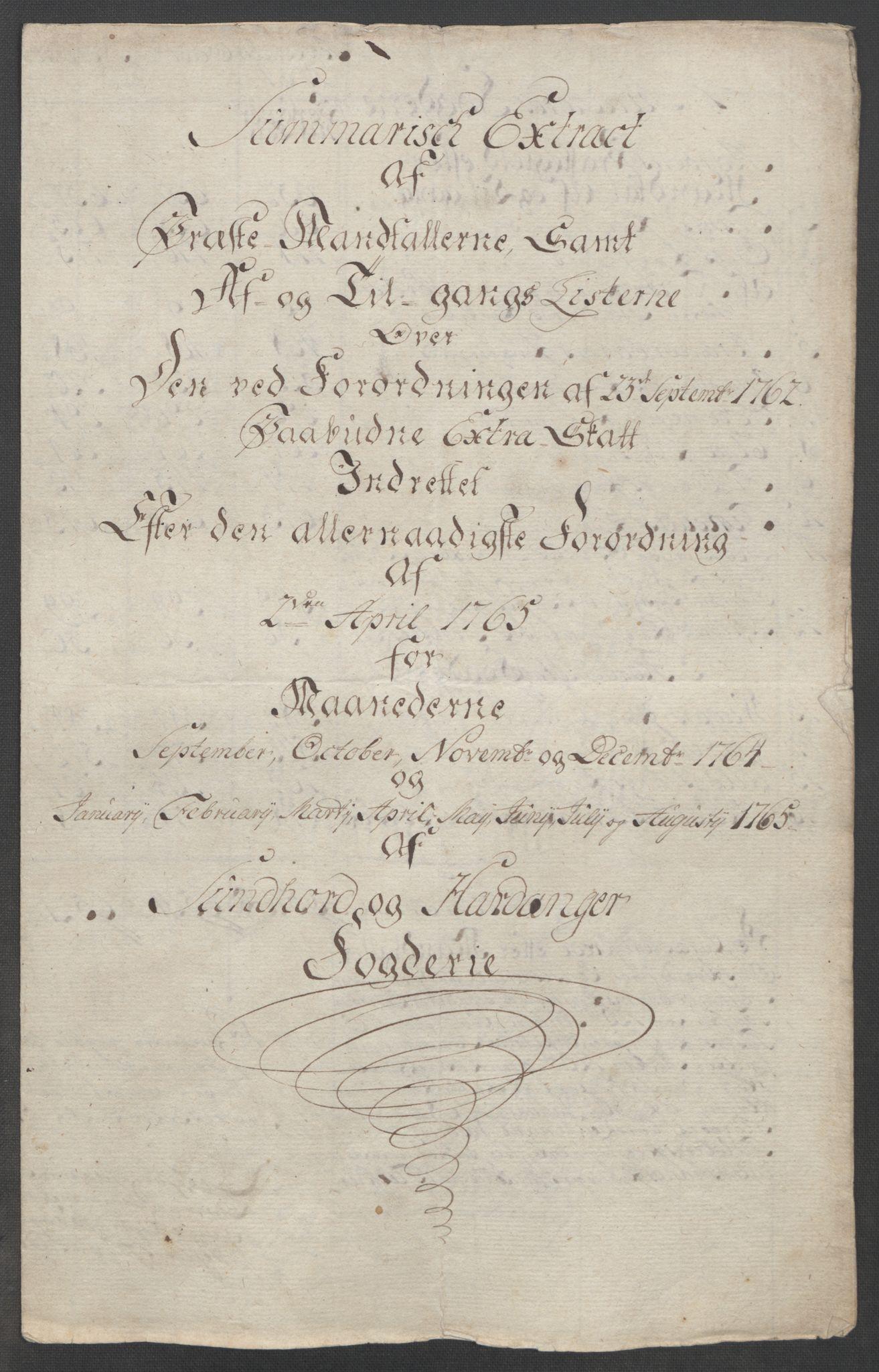 RA, Rentekammeret inntil 1814, Reviderte regnskaper, Fogderegnskap, R48/L3136: Ekstraskatten Sunnhordland og Hardanger, 1762-1772, s. 96