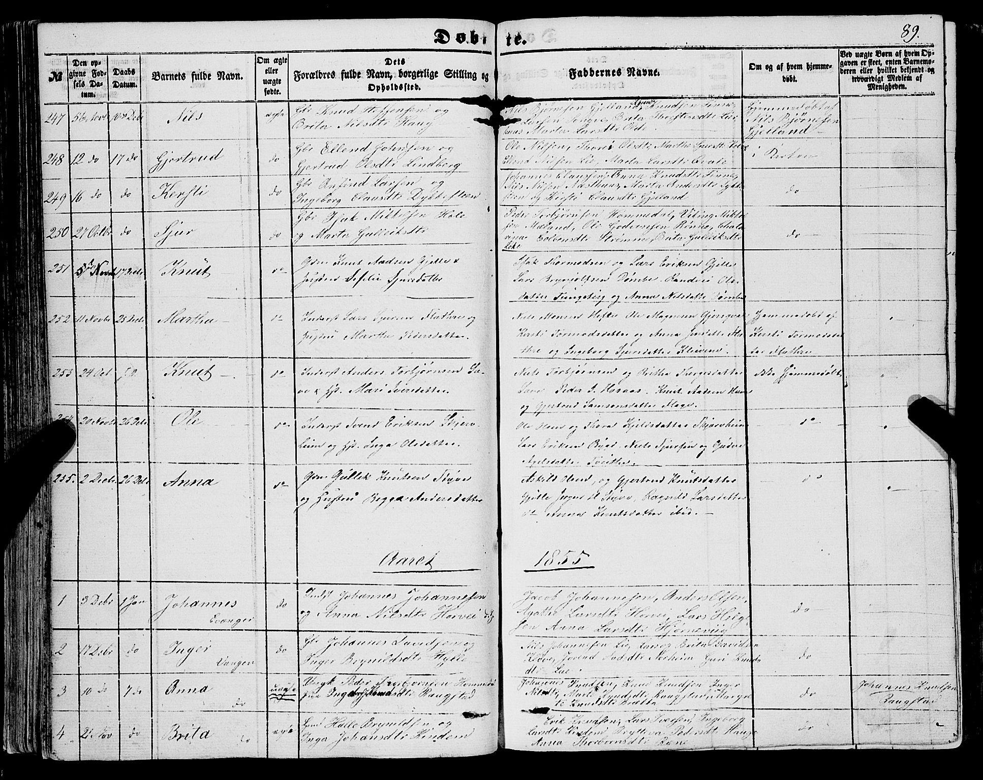 SAB, Voss Sokneprestembete, H/Haa: Ministerialbok nr. A 16, 1849-1863, s. 89