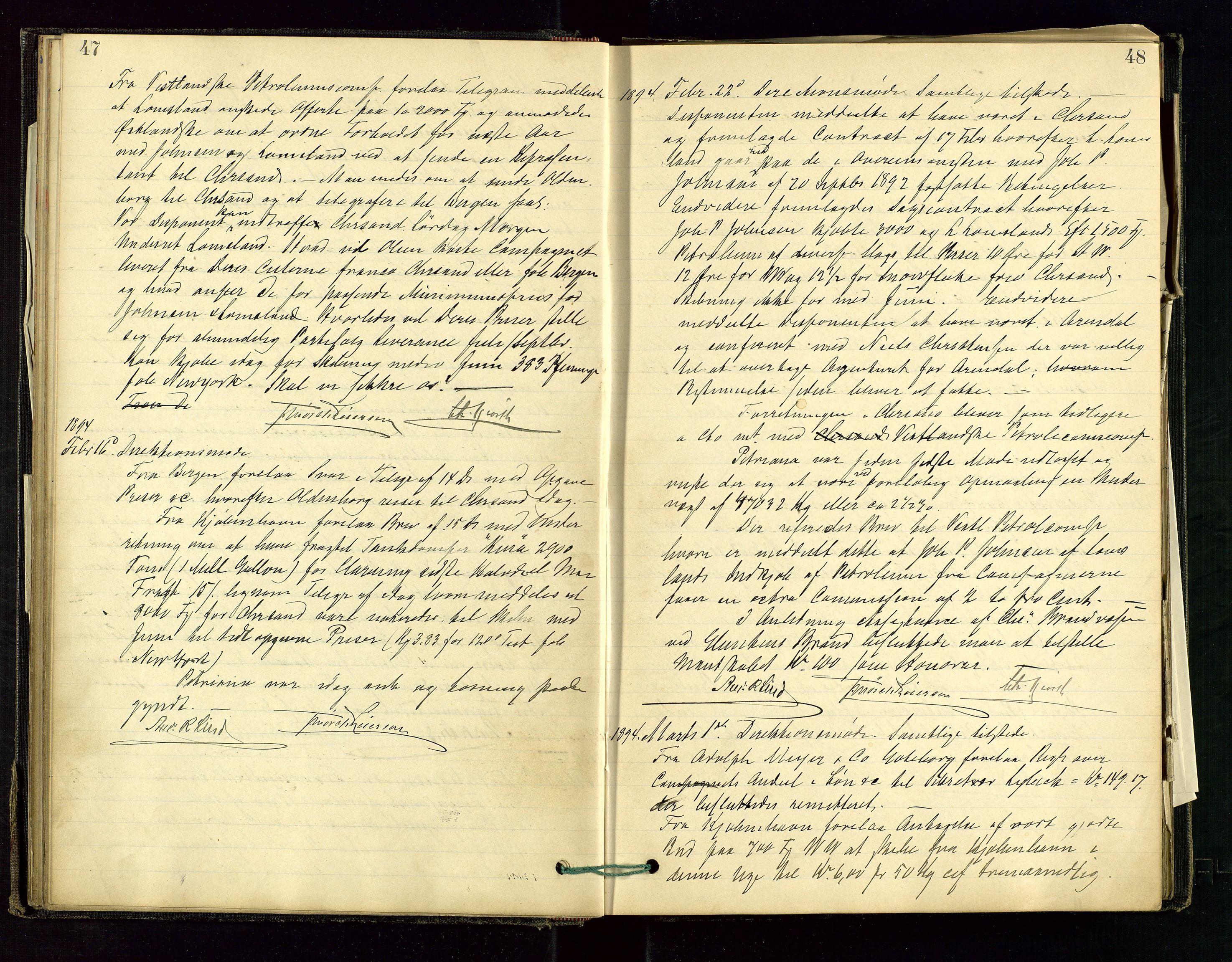 SAST, PA 1534 - Østlandske Petroleumscompagni A/S, A/Aa/L0001: Generalforsamlinger og direksjonsprotokoller., 1892-1905, s. 47-48