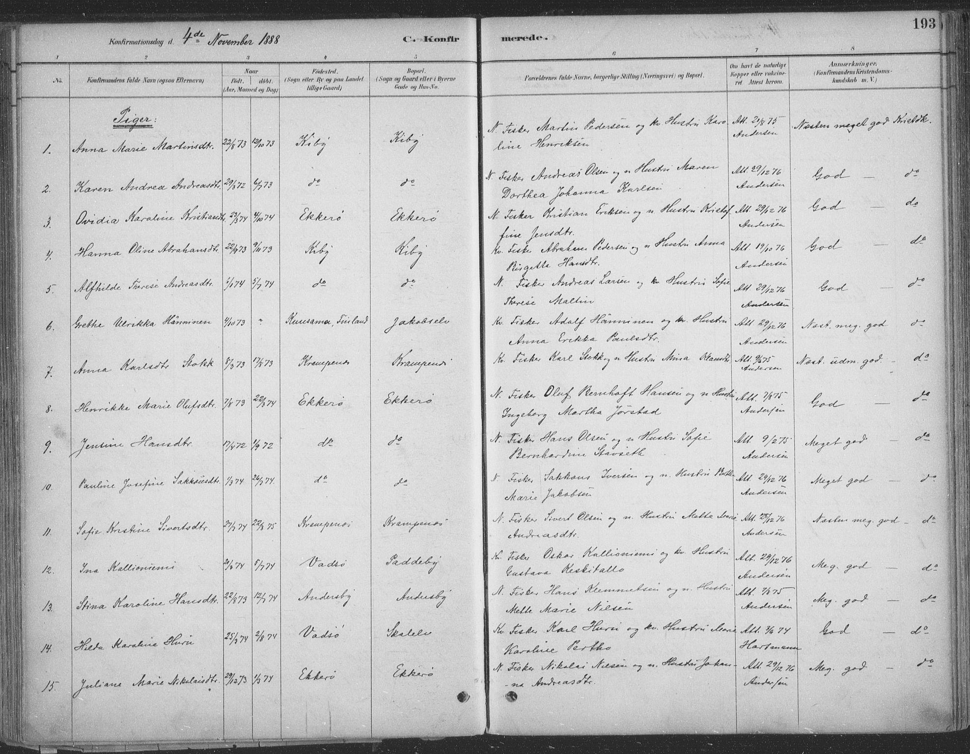 SATØ, Vadsø sokneprestkontor, H/Ha/L0009kirke: Ministerialbok nr. 9, 1881-1917, s. 193