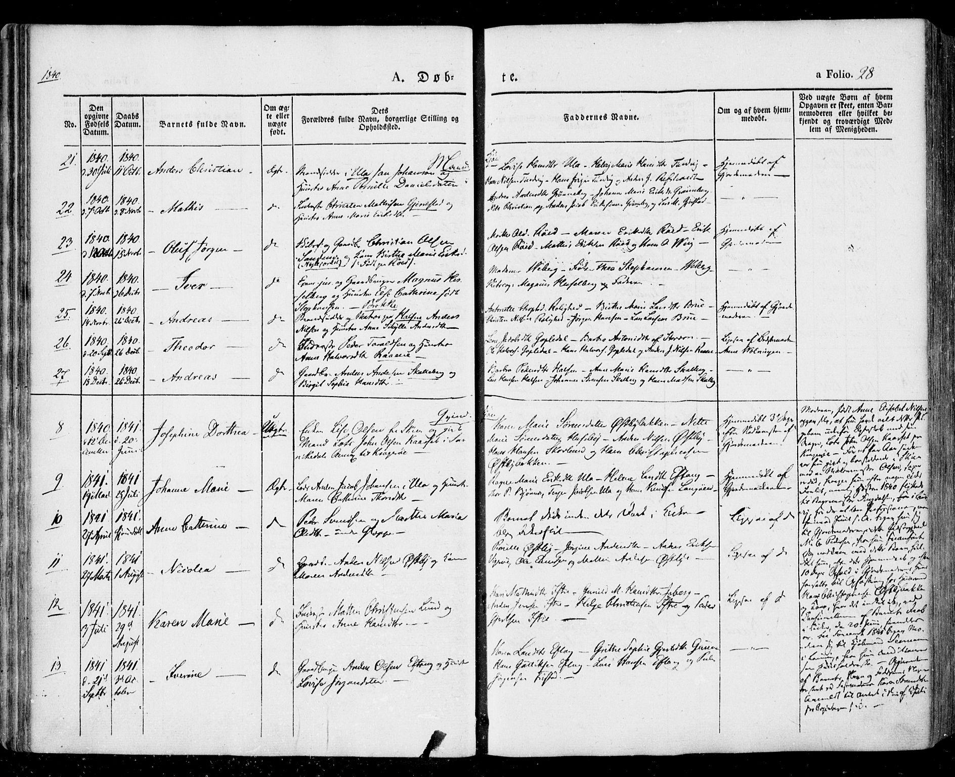 SAKO, Tjølling kirkebøker, F/Fa/L0006: Ministerialbok nr. 6, 1835-1859, s. 28