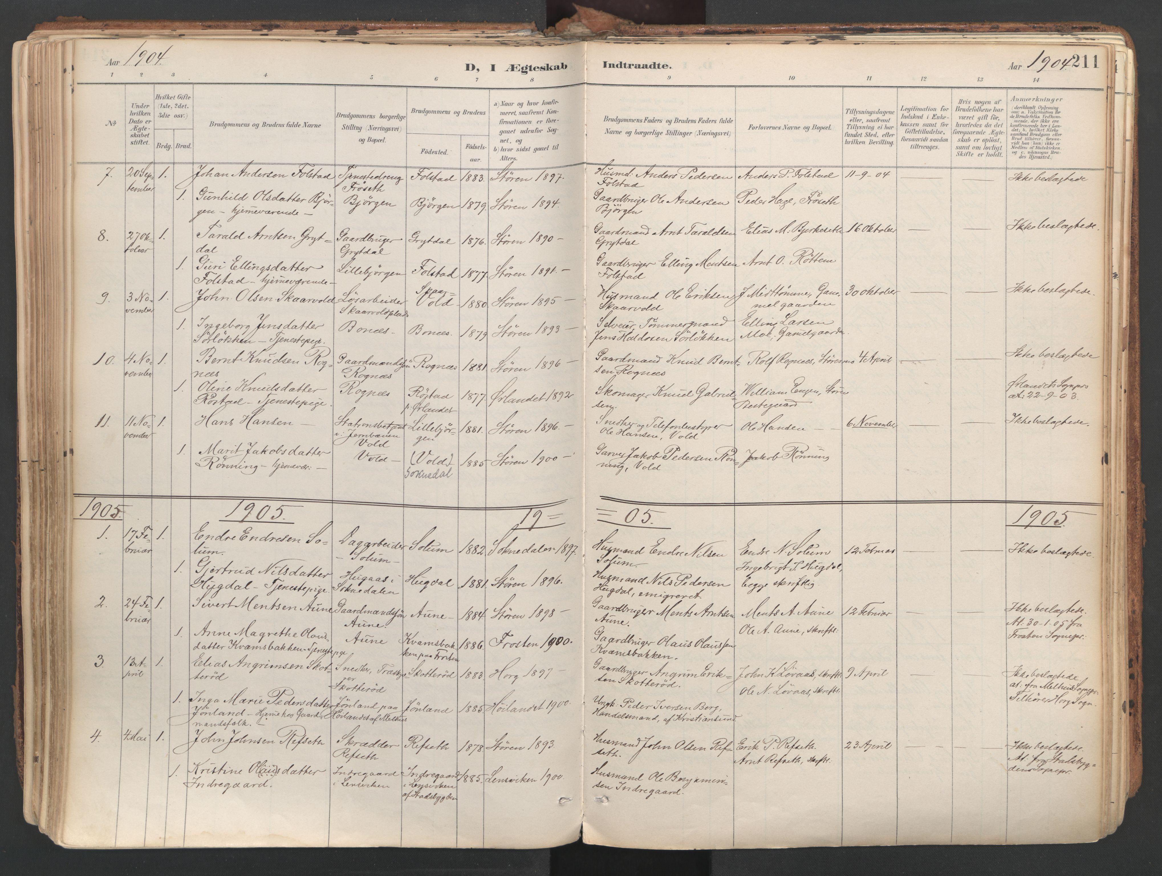 SAT, Ministerialprotokoller, klokkerbøker og fødselsregistre - Sør-Trøndelag, 687/L1004: Ministerialbok nr. 687A10, 1891-1923, s. 211