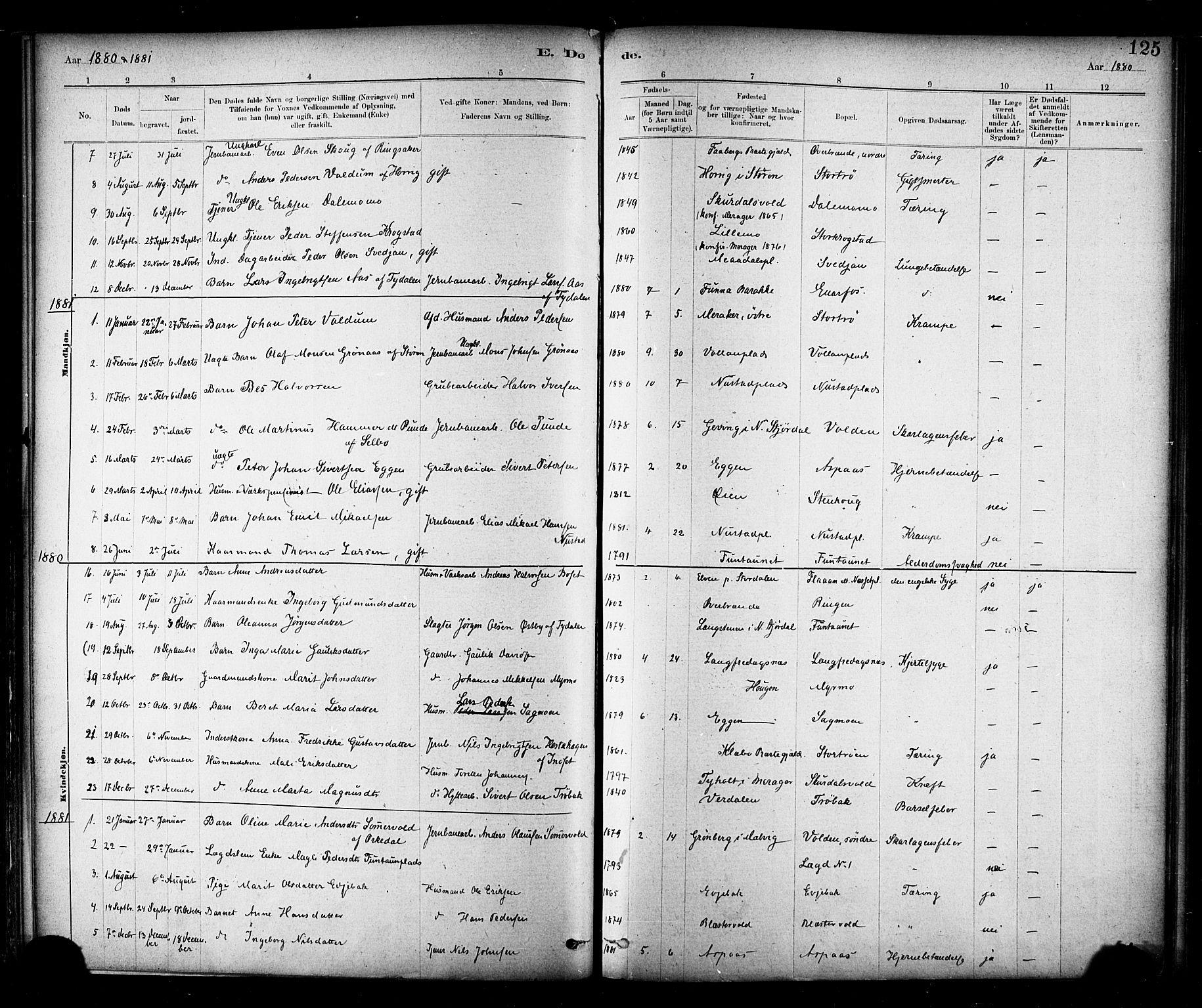 SAT, Ministerialprotokoller, klokkerbøker og fødselsregistre - Nord-Trøndelag, 706/L0047: Ministerialbok nr. 706A03, 1878-1892, s. 125