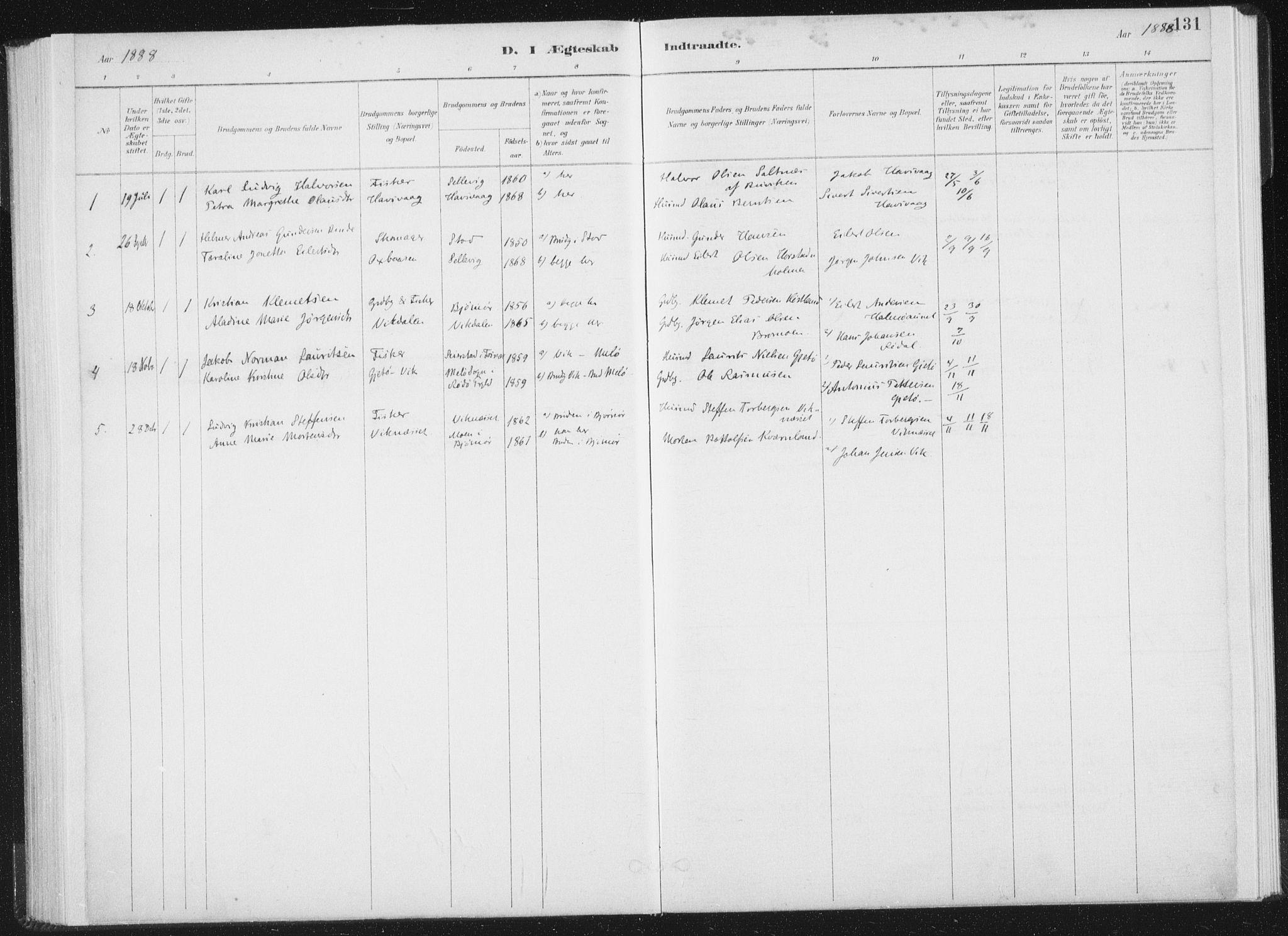 SAT, Ministerialprotokoller, klokkerbøker og fødselsregistre - Nord-Trøndelag, 771/L0597: Ministerialbok nr. 771A04, 1885-1910, s. 131