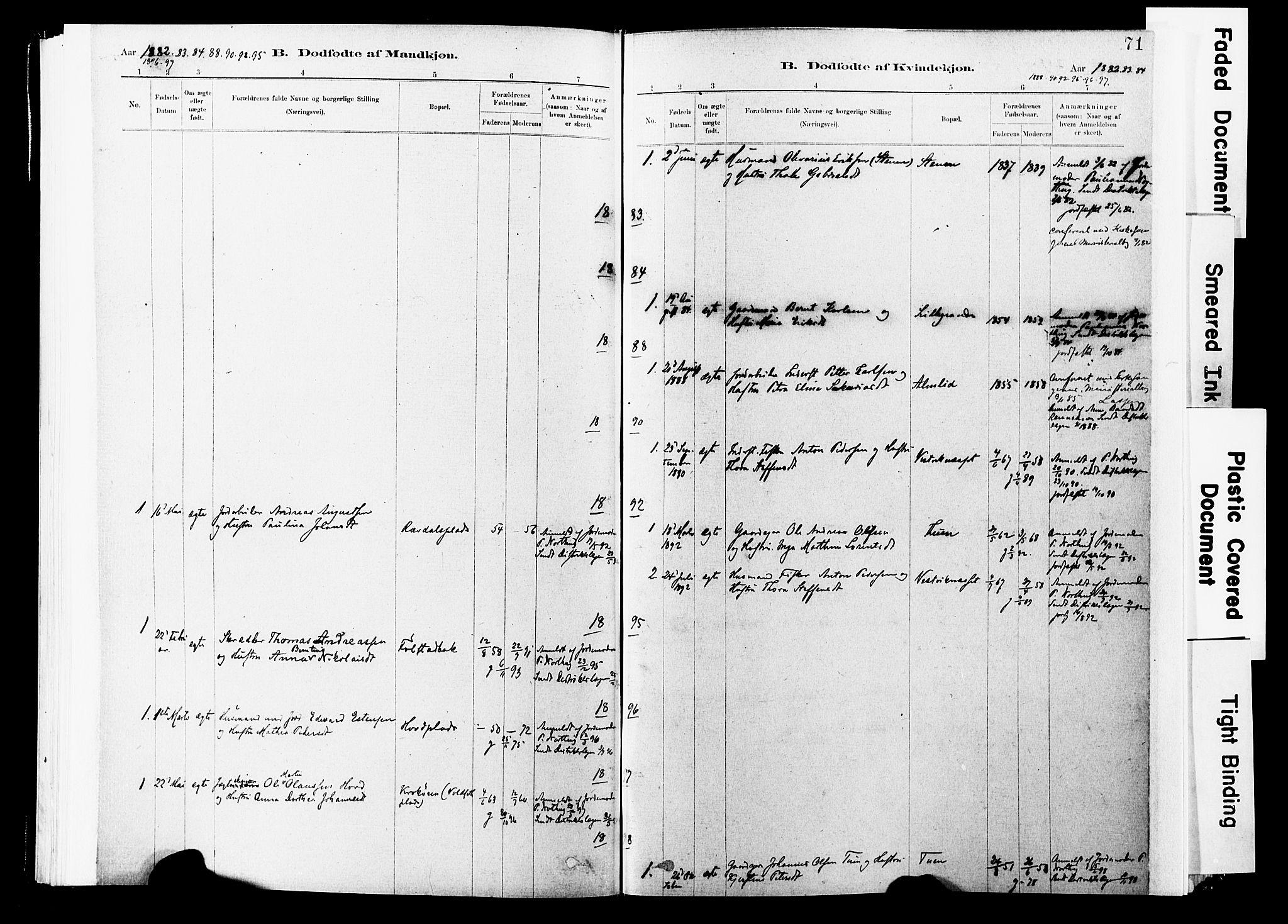 SAT, Ministerialprotokoller, klokkerbøker og fødselsregistre - Nord-Trøndelag, 744/L0420: Ministerialbok nr. 744A04, 1882-1904, s. 71