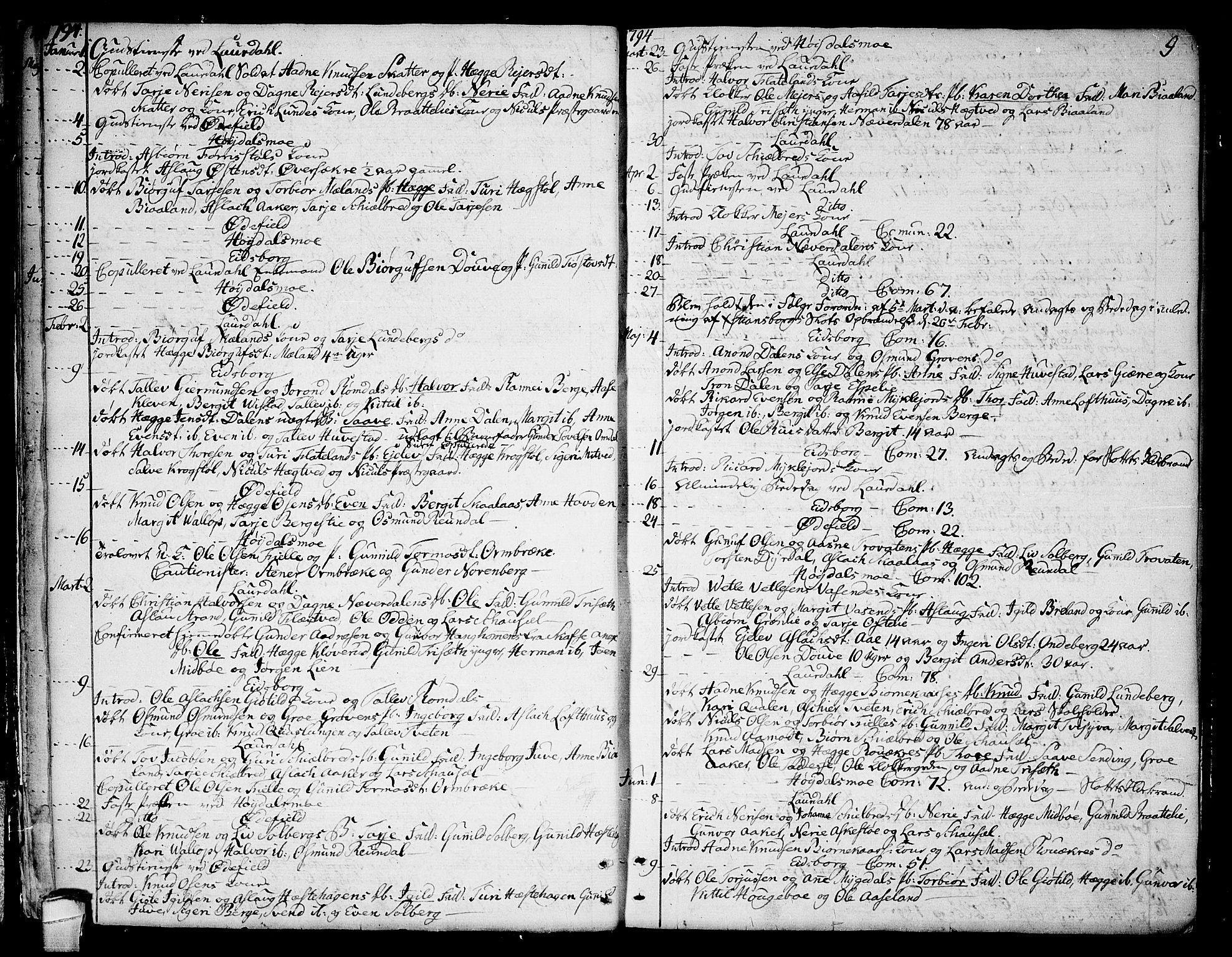 SAKO, Lårdal kirkebøker, F/Fa/L0004: Ministerialbok nr. I 4, 1790-1814, s. 9