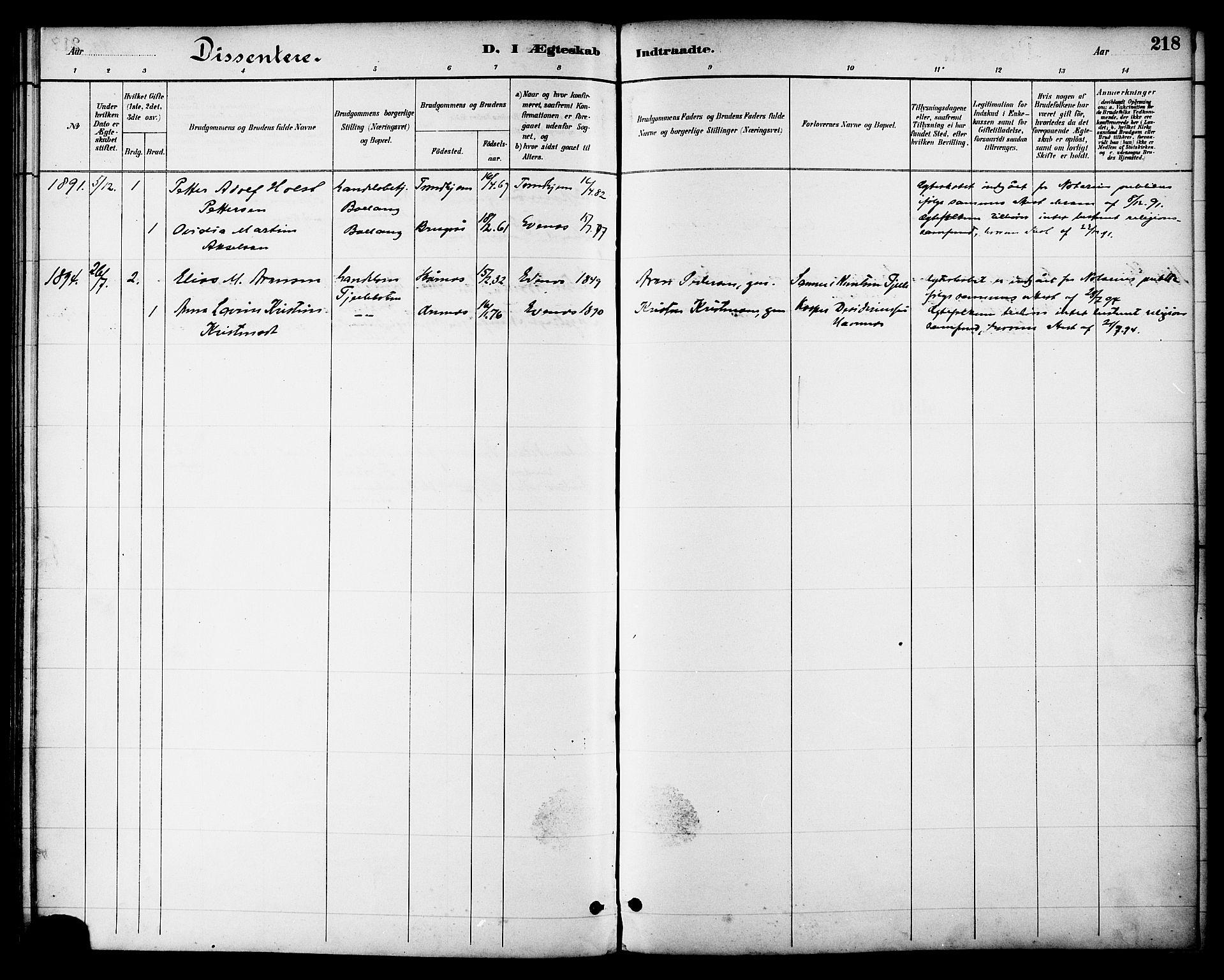 SAT, Ministerialprotokoller, klokkerbøker og fødselsregistre - Nordland, 863/L0898: Ministerialbok nr. 863A10, 1886-1897, s. 218