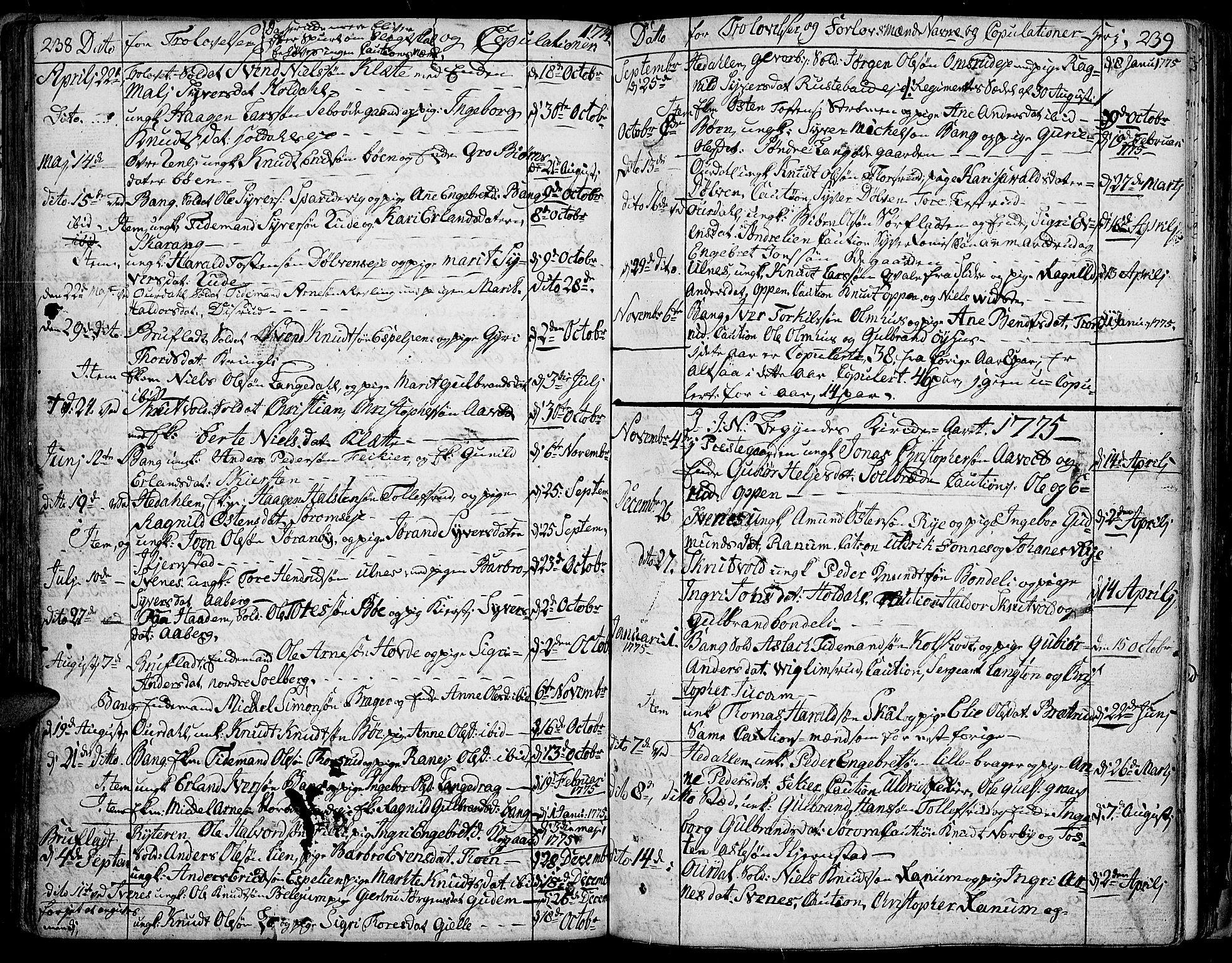 SAH, Aurdal prestekontor, Ministerialbok nr. 5, 1763-1781, s. 238-239