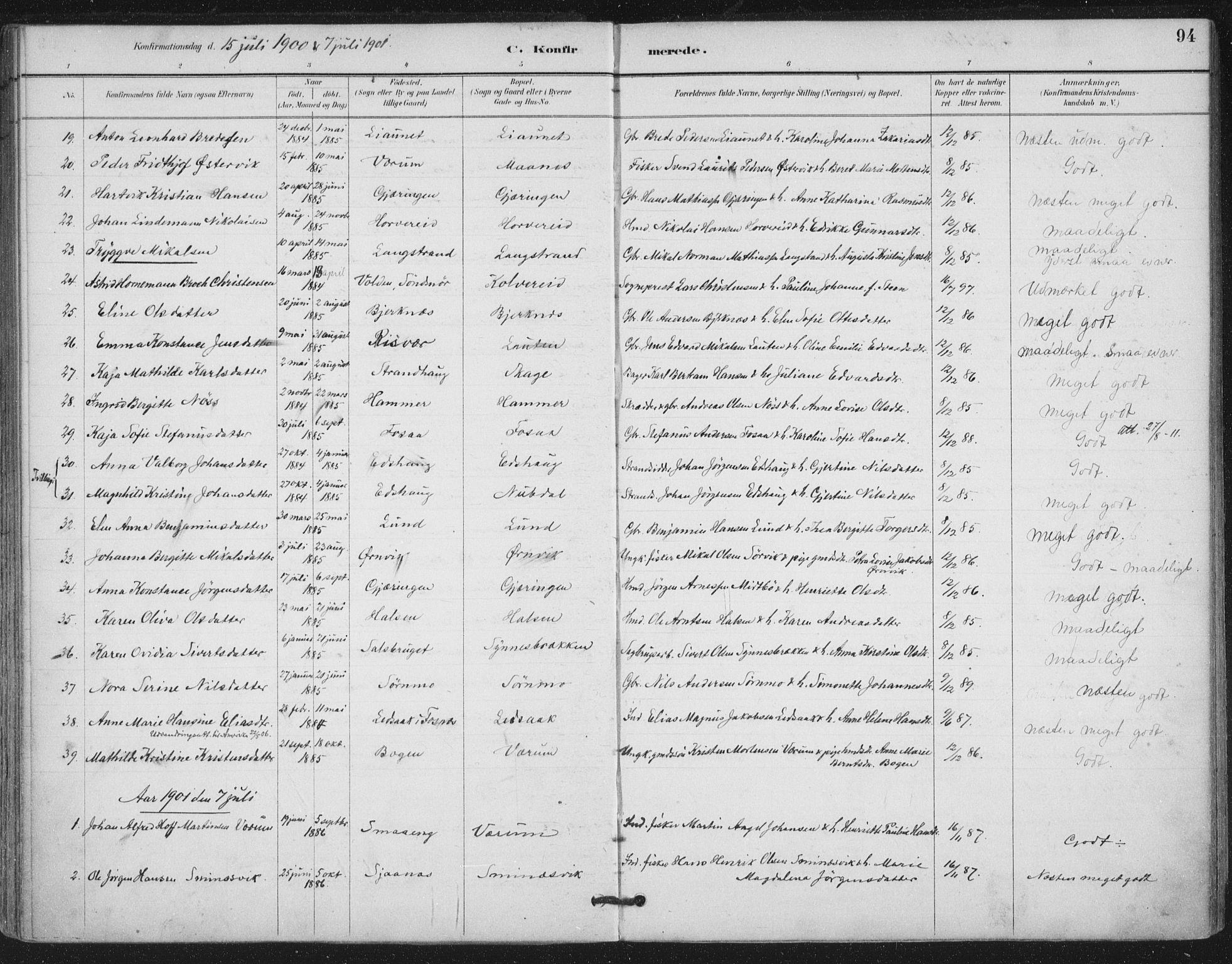 SAT, Ministerialprotokoller, klokkerbøker og fødselsregistre - Nord-Trøndelag, 780/L0644: Ministerialbok nr. 780A08, 1886-1903, s. 94