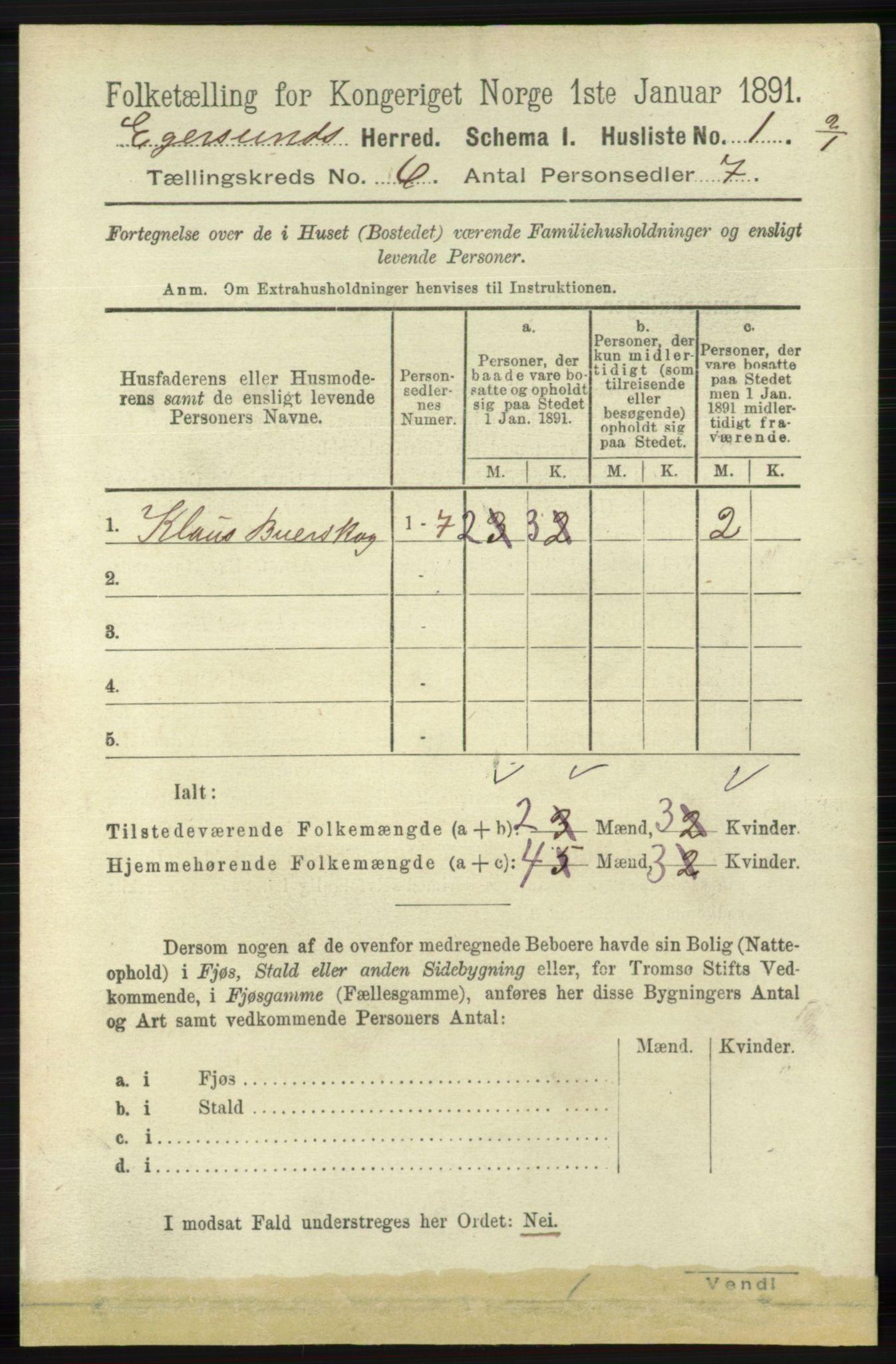 RA, Folketelling 1891 for 1116 Eigersund herred, 1891, s. 2194
