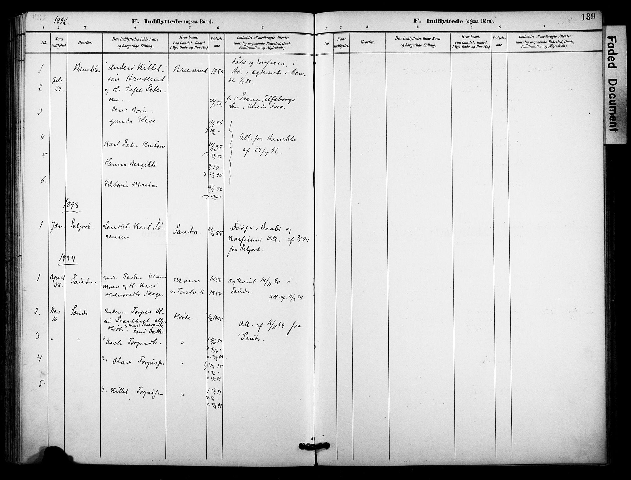 SAKO, Bø kirkebøker, F/Fa/L0011: Ministerialbok nr. 11, 1892-1900, s. 139