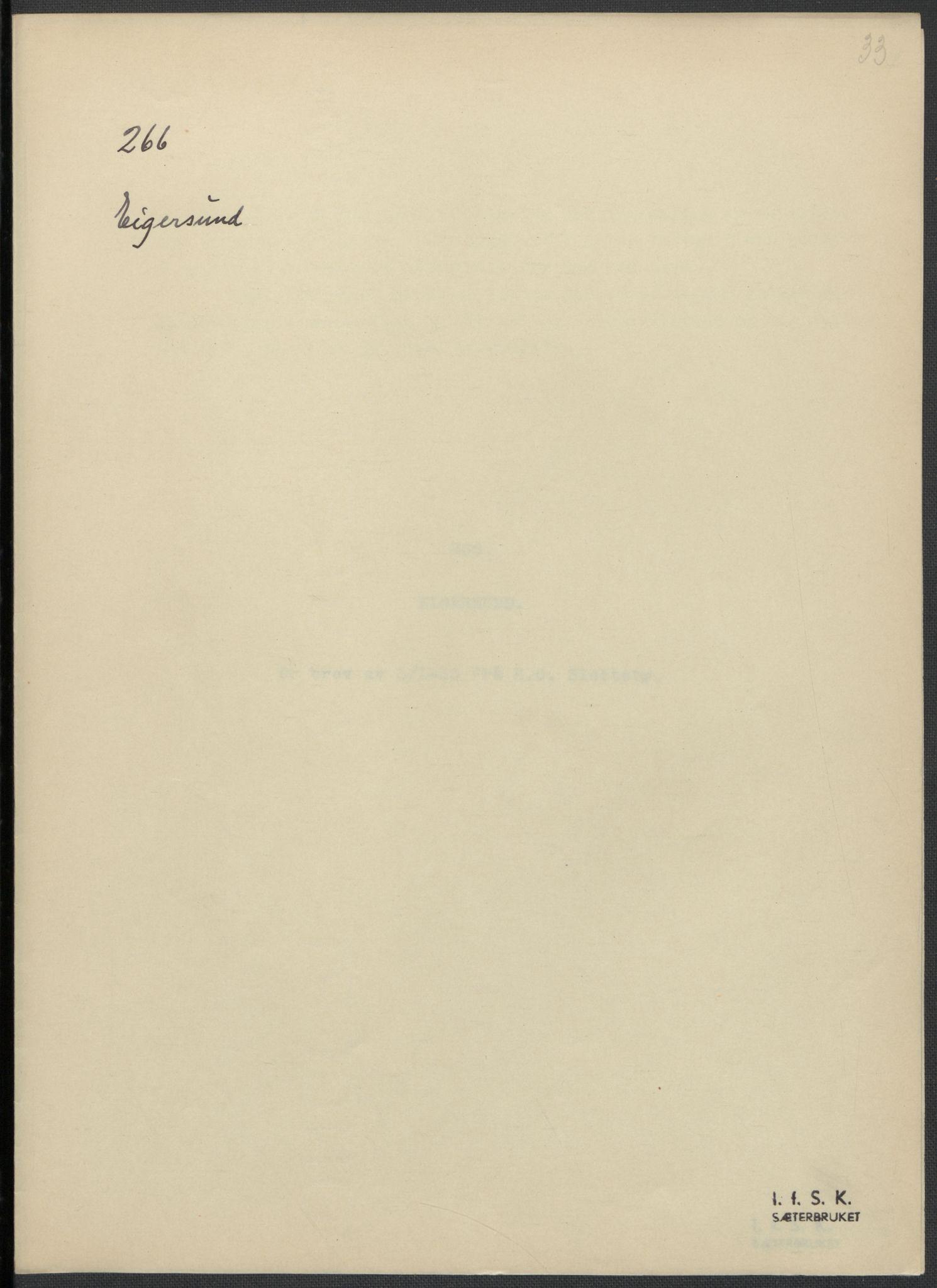 RA, Instituttet for sammenlignende kulturforskning, F/Fc/L0009: Eske B9:, 1932-1935, s. 33