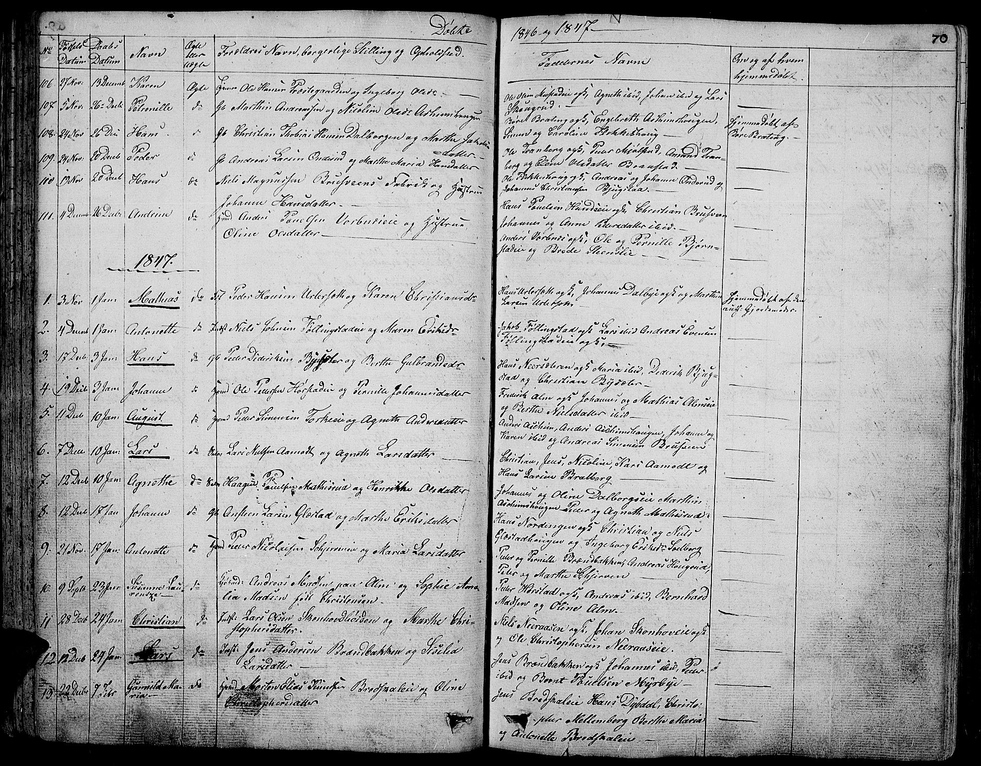 SAH, Vardal prestekontor, H/Ha/Hab/L0004: Klokkerbok nr. 4, 1831-1853, s. 70