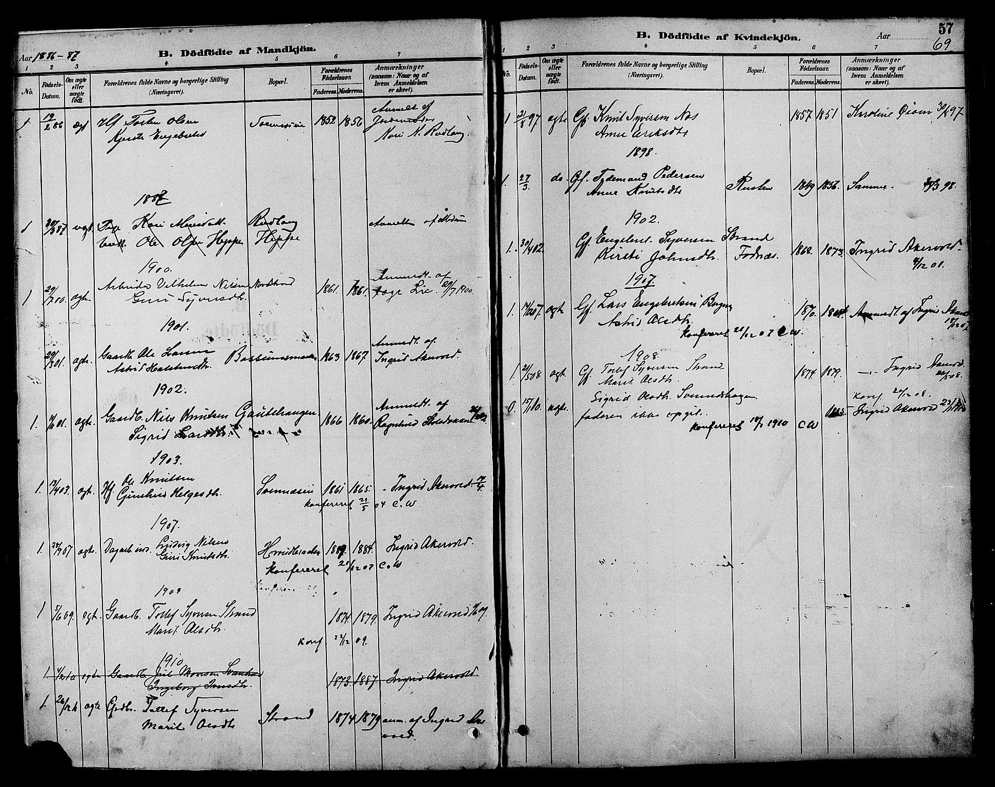 SAH, Nord-Aurdal prestekontor, Klokkerbok nr. 7, 1883-1910, s. 69